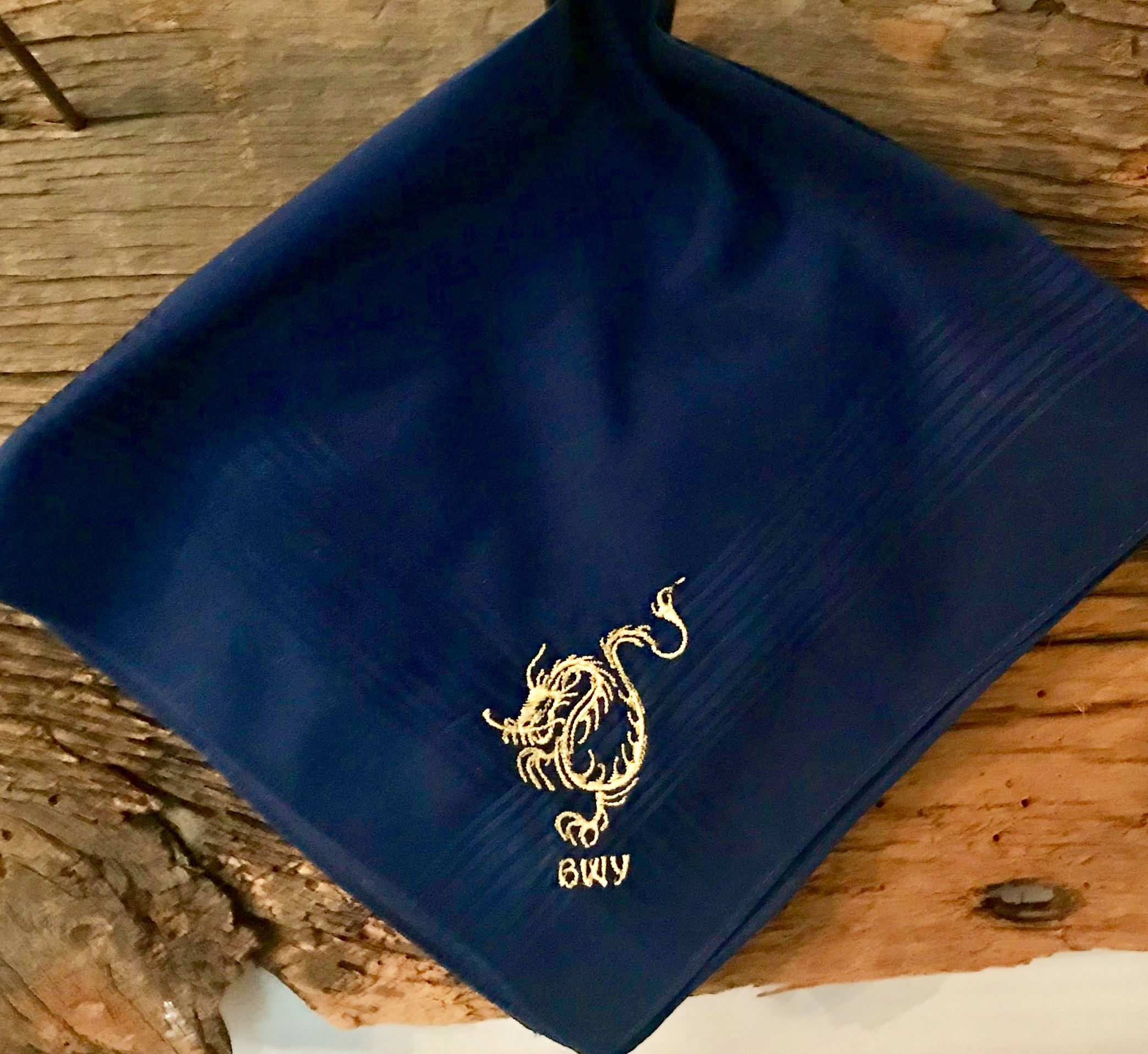 Dragon Monogram Embroidered Handkerchief