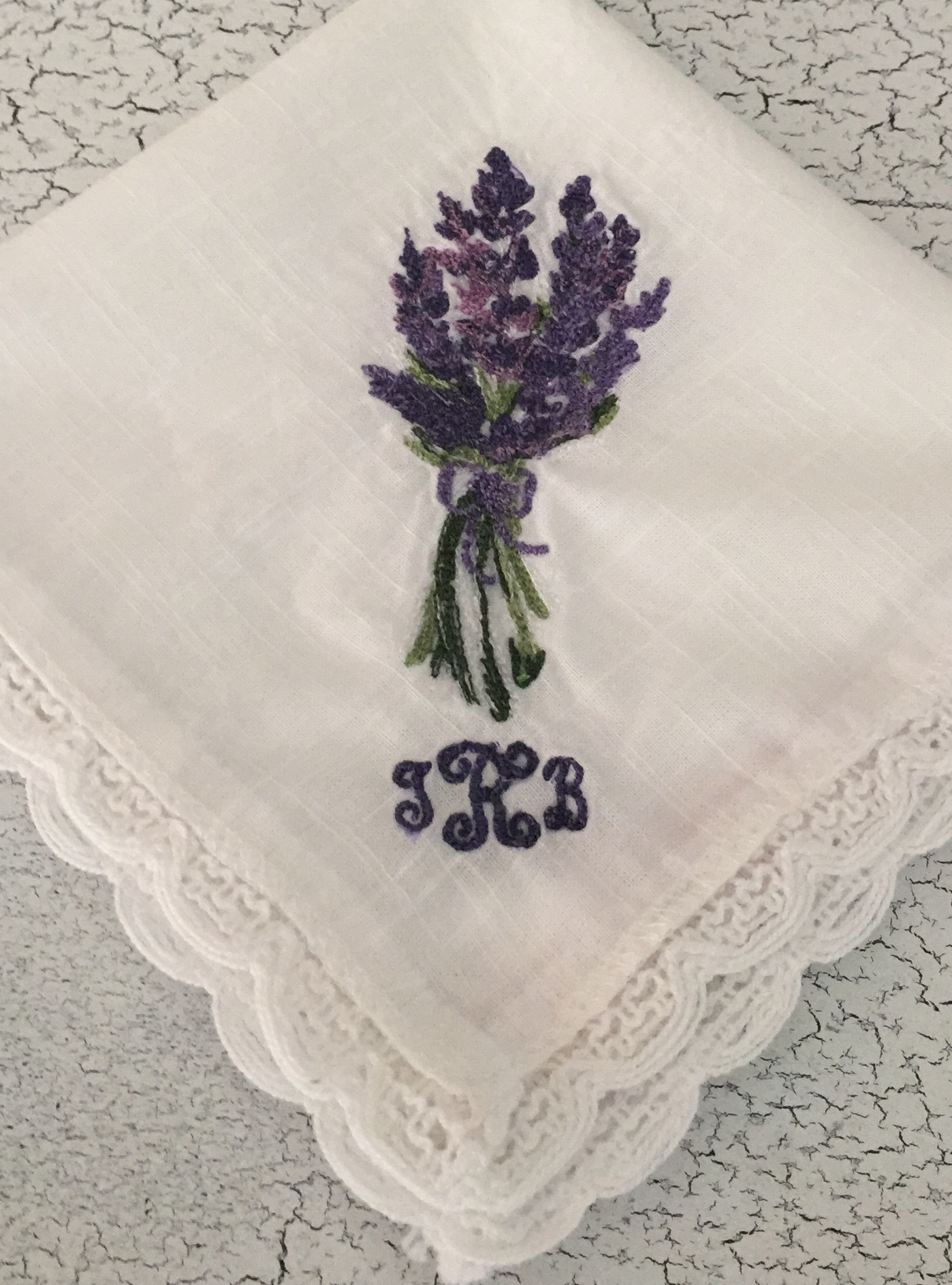 Lavender Sprig Embroidered Handkerchief