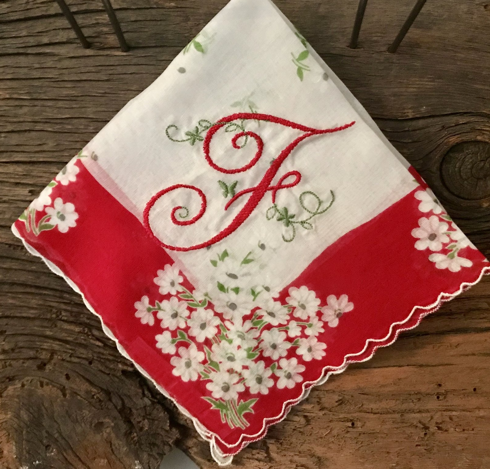 Vintage Handkerchief with F Monogram