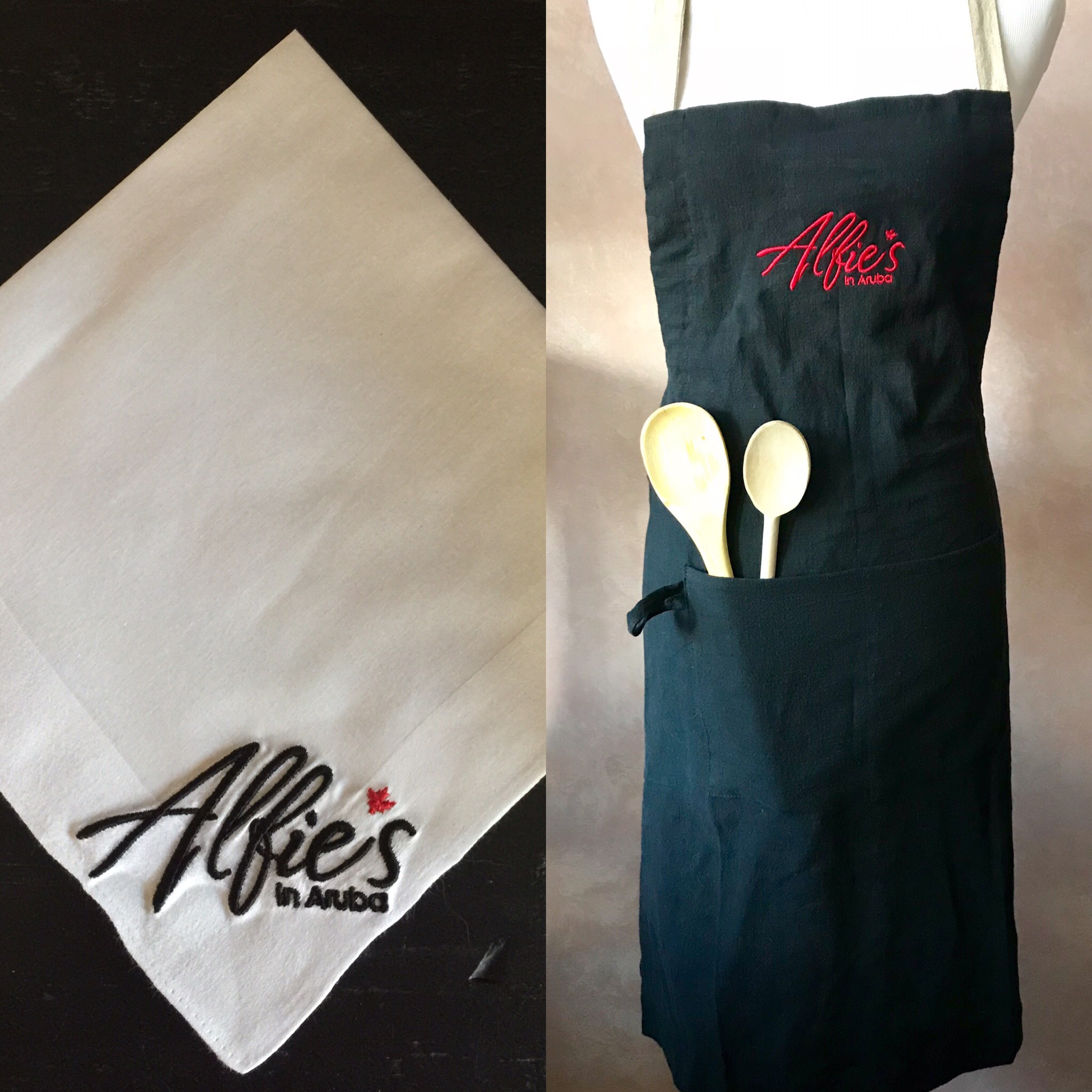 Alfie's in Aruba Custom Embroidered Handkerchief and Apron