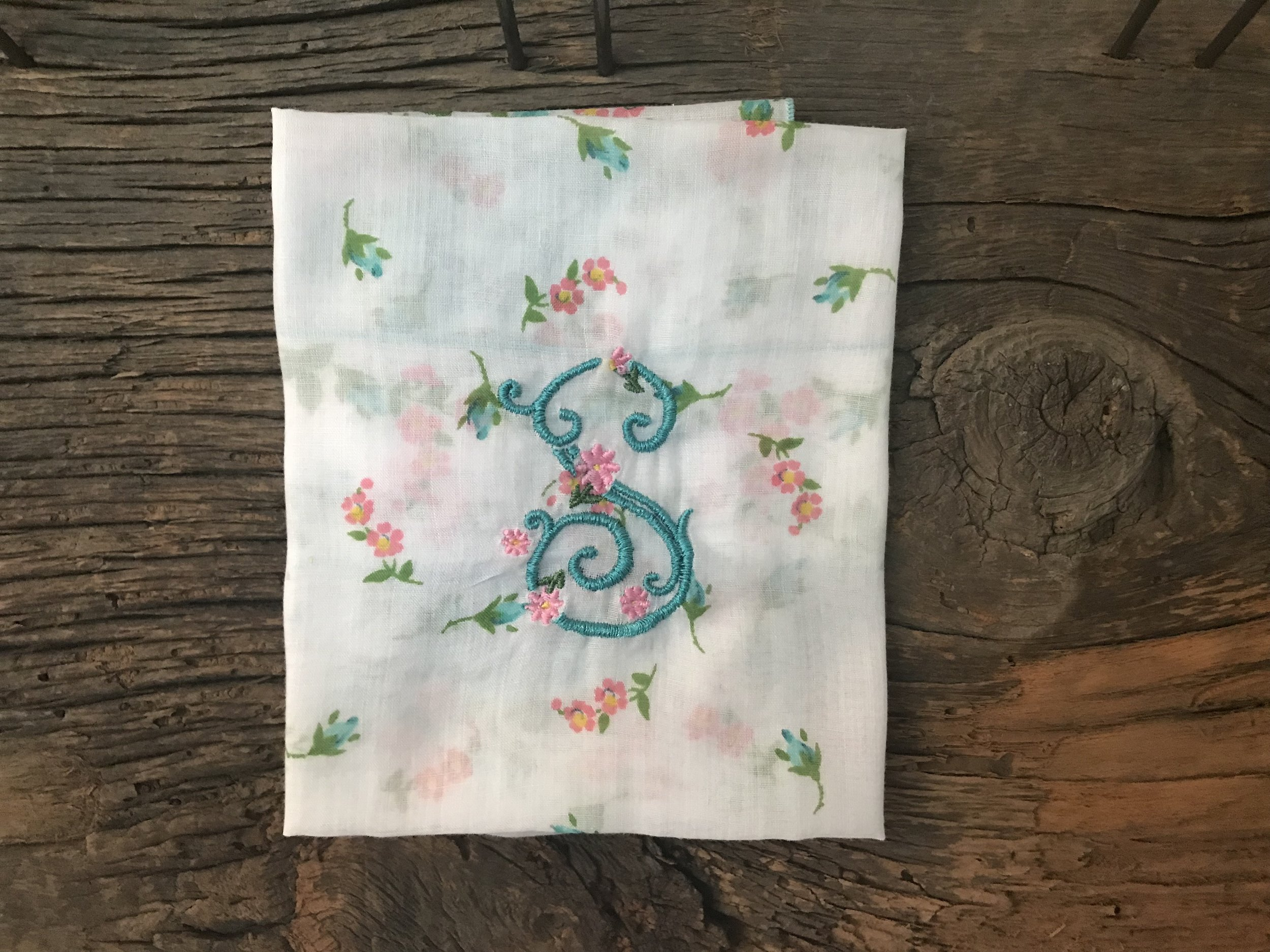 Vintage Handkerchief with Rose S Monogram