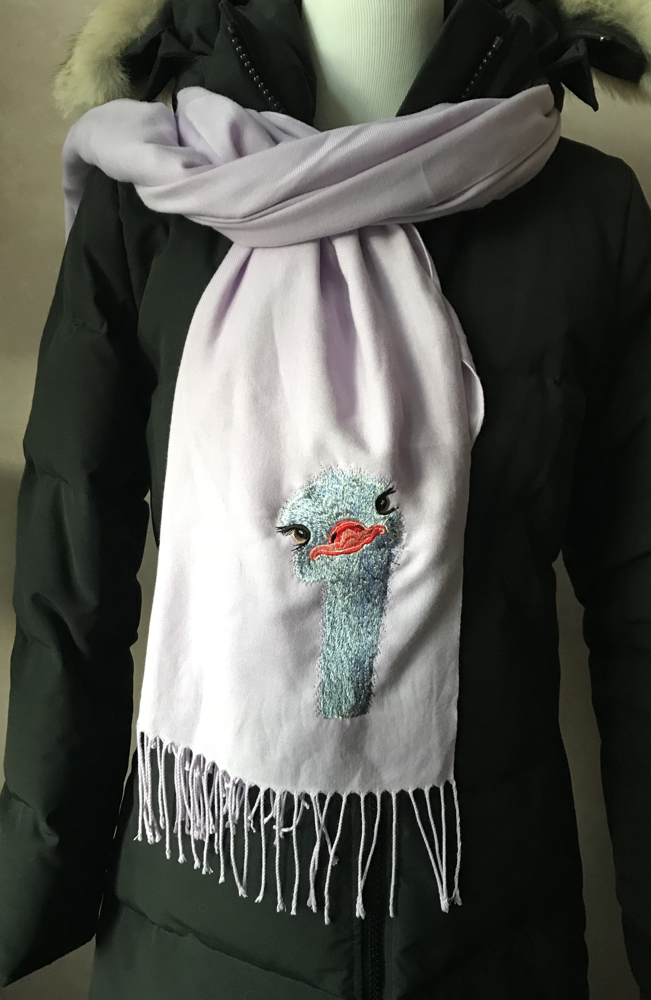 Ostrich Embroidered Scarf