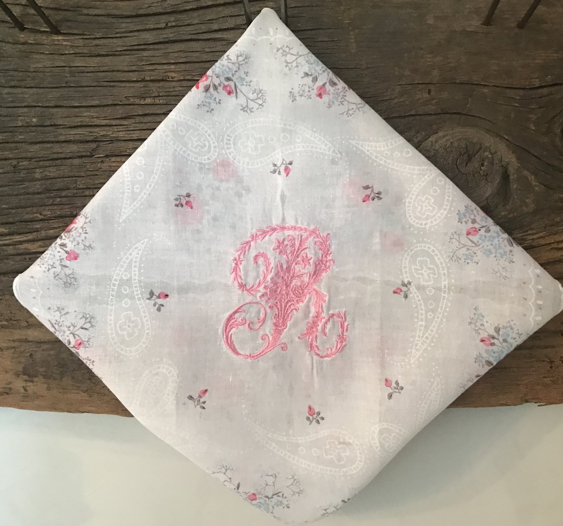 Vintage Handkerchief with Victorian Rose Letter R Monogram