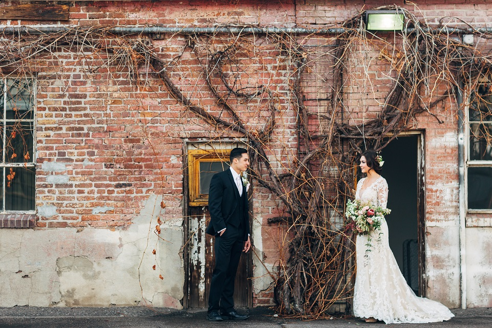 Photographer:  From The Hip Photo      Planning & Styling:  Hourglass Productions     Floral Design:  Ladybird Poppy     HMUA:  Beauty on Location by Liz      Bridal Salon:  Blue Bridal      Menswear:  Ted's Clothiers      Tie & Pocket Square:  Knotty Tie     Dress:  Amare Couture