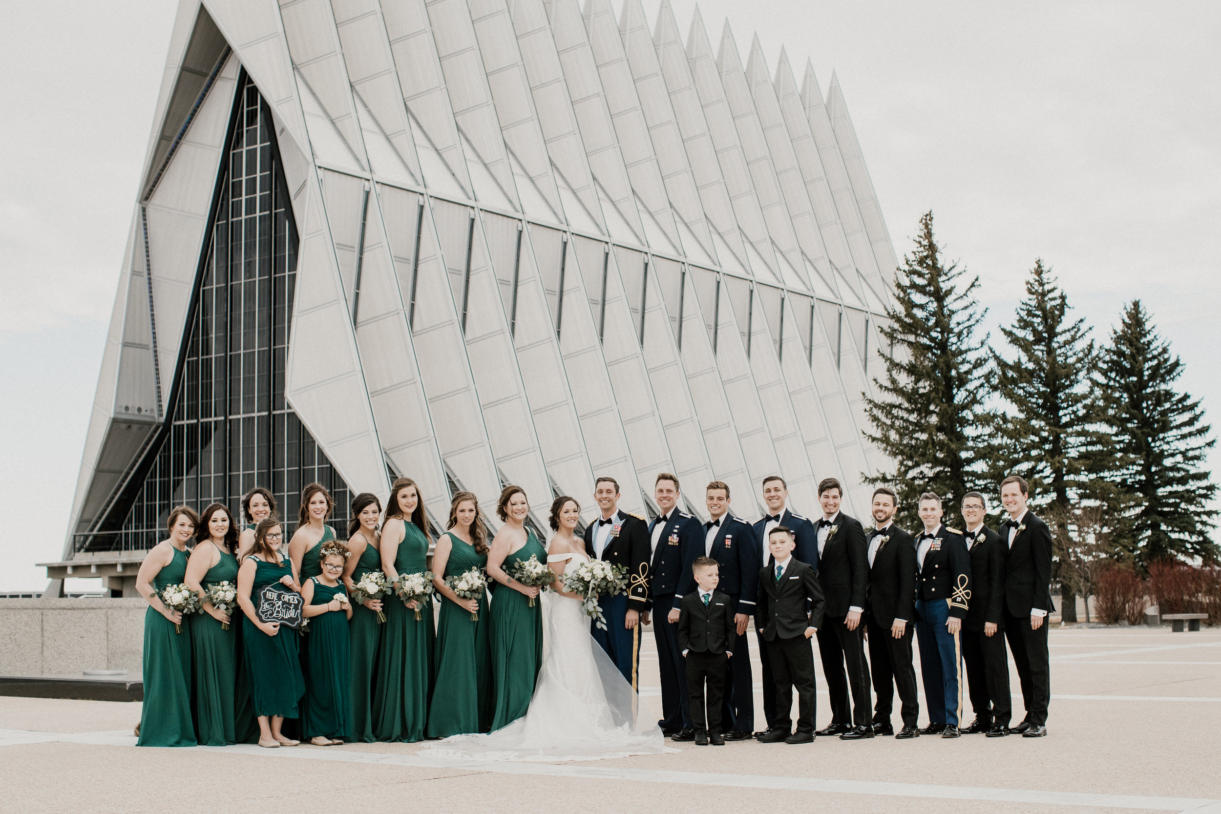 Military Wedding at the AF Academy Cadet Chapel. By The CARRS Photography.