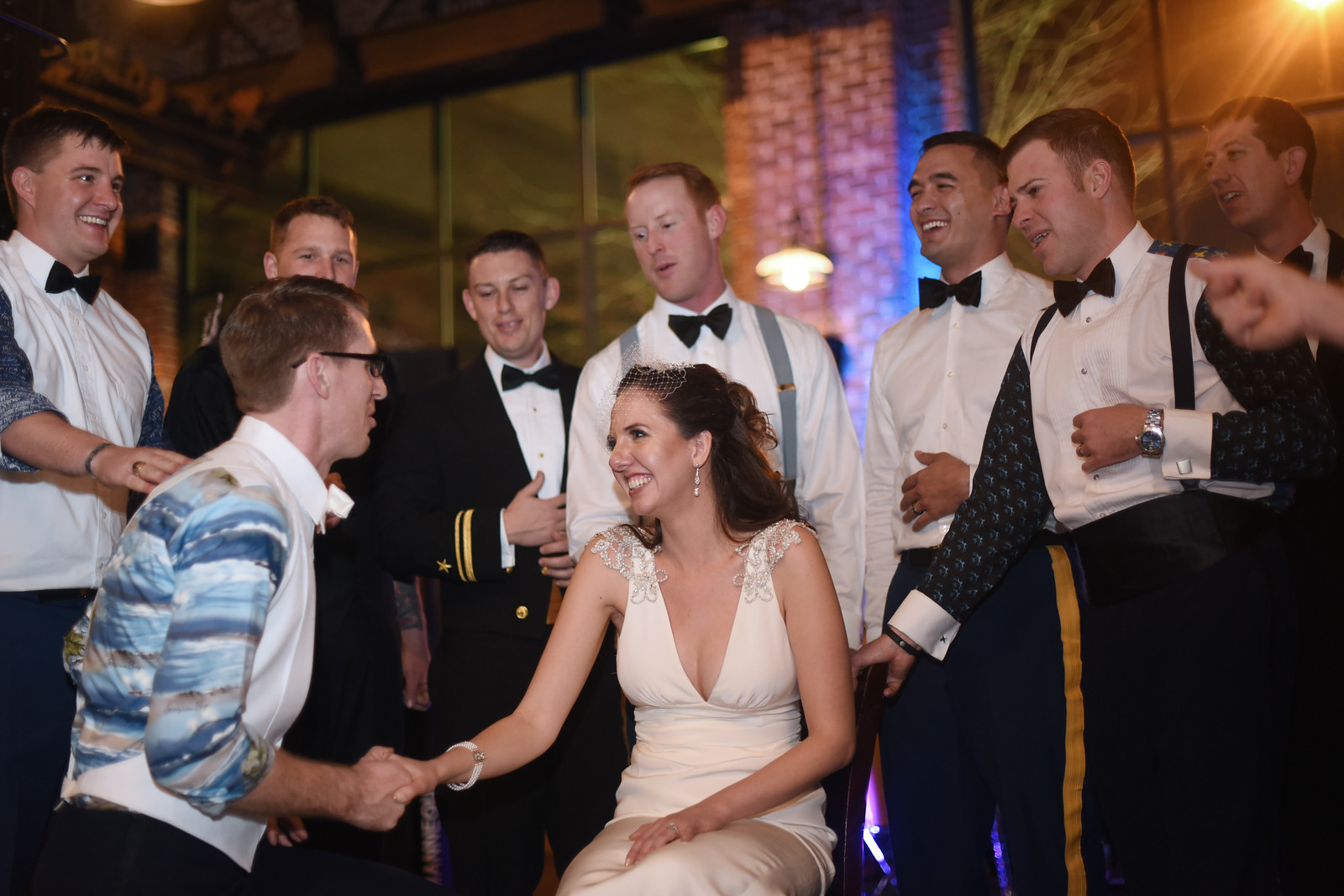 Groom and groomsmen in their party shirts. By  Amy Carroll Photography .