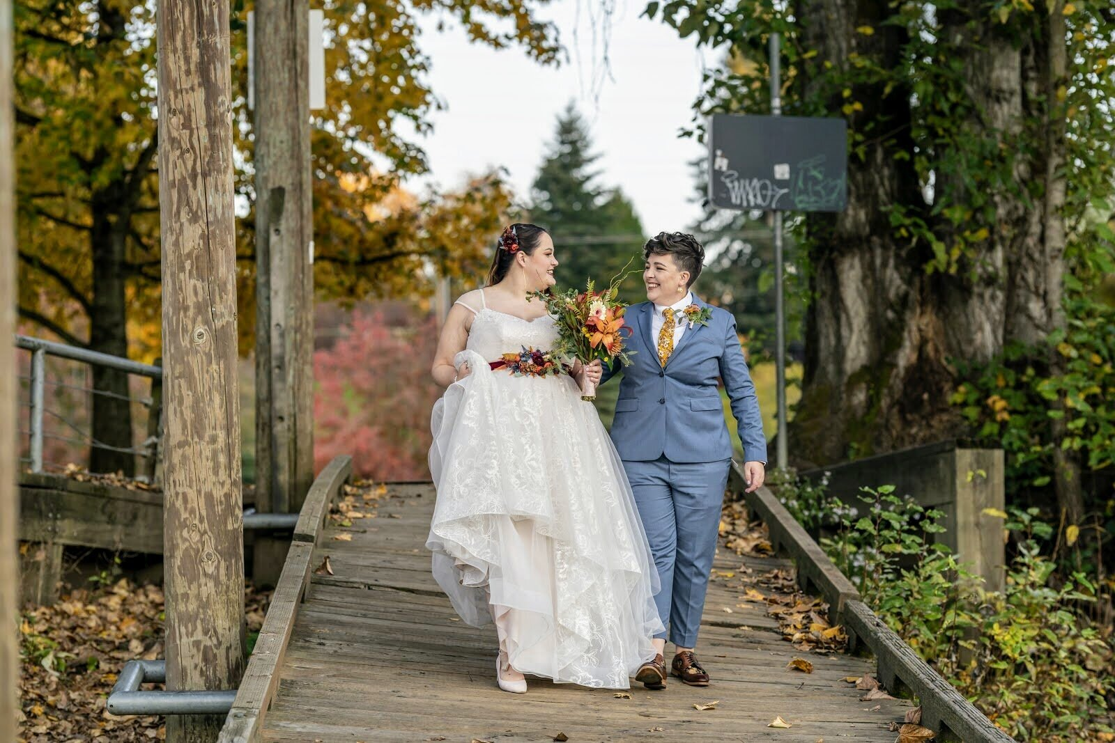 B & B's destination wedding captured by Fly View Productions at (and near) Oaks Pioneer Church.