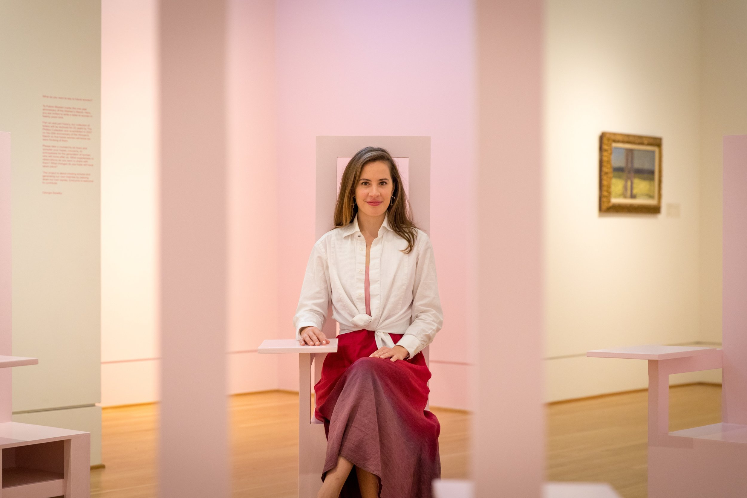 Artist Georgia Saxelby at The Phillips Collection on the launch of To Future Women. Photo Joe Gibson
