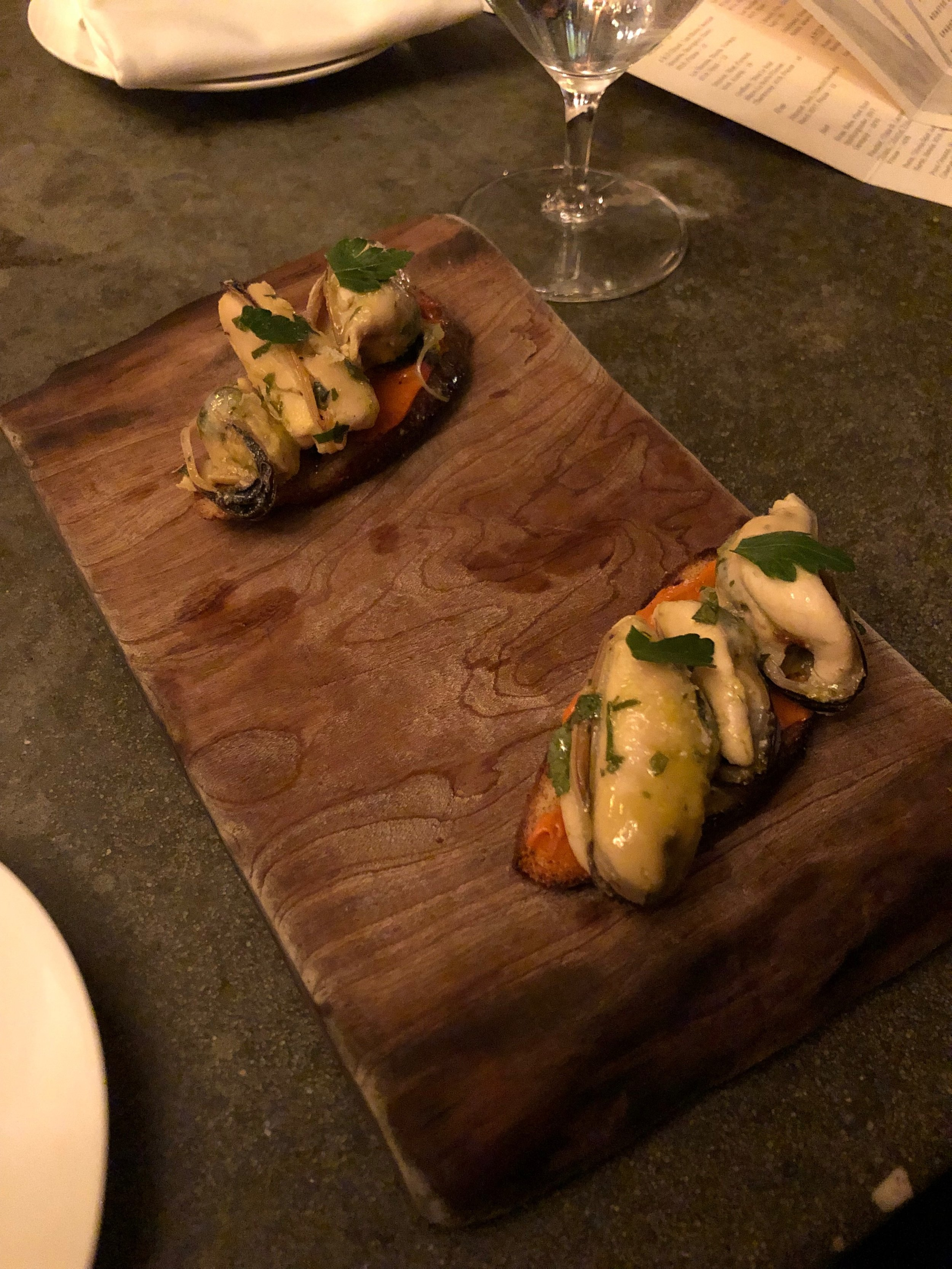 Smoked mussels at Fork