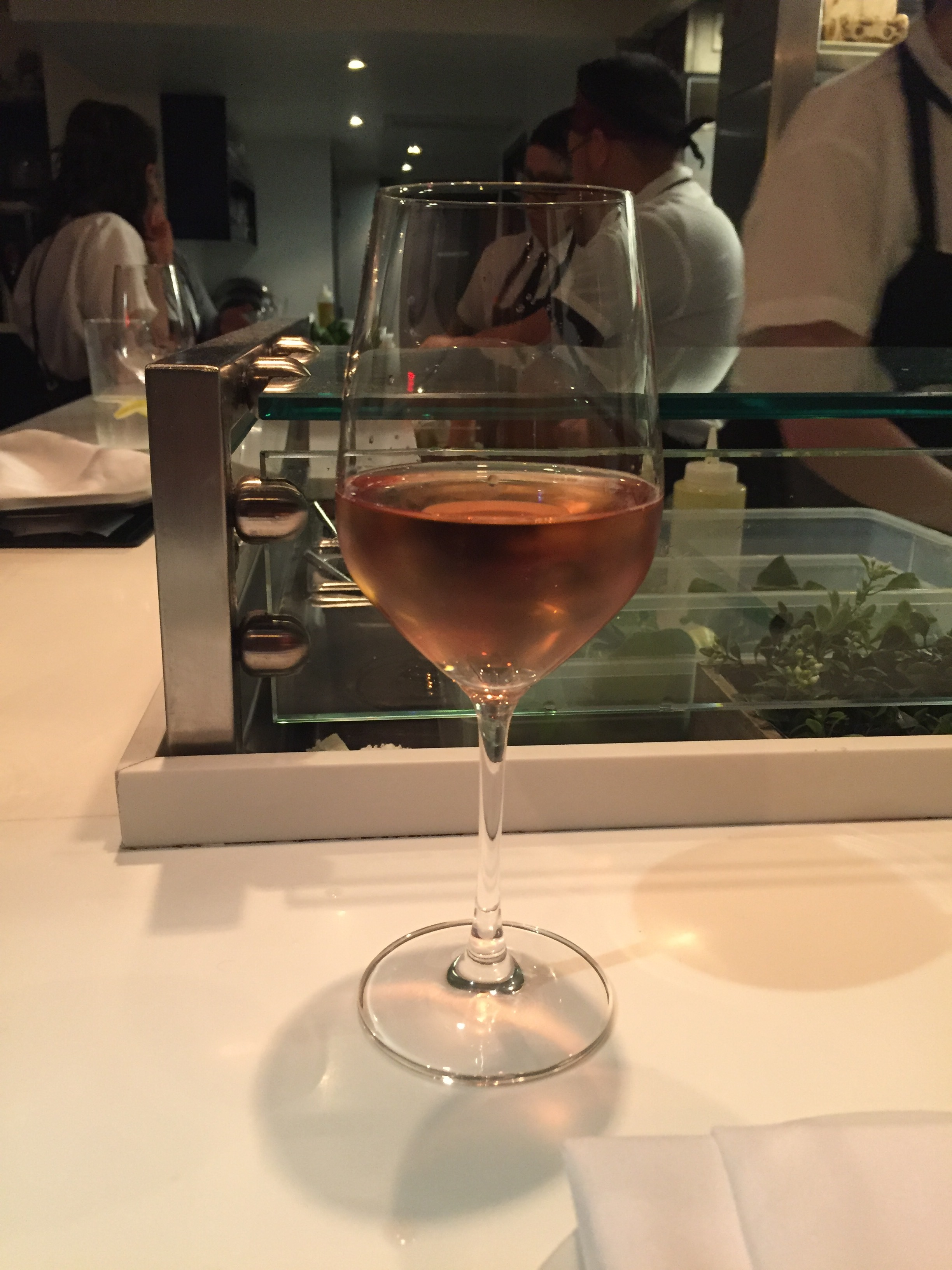 Glass of sparkling rosé at Dirt Candy