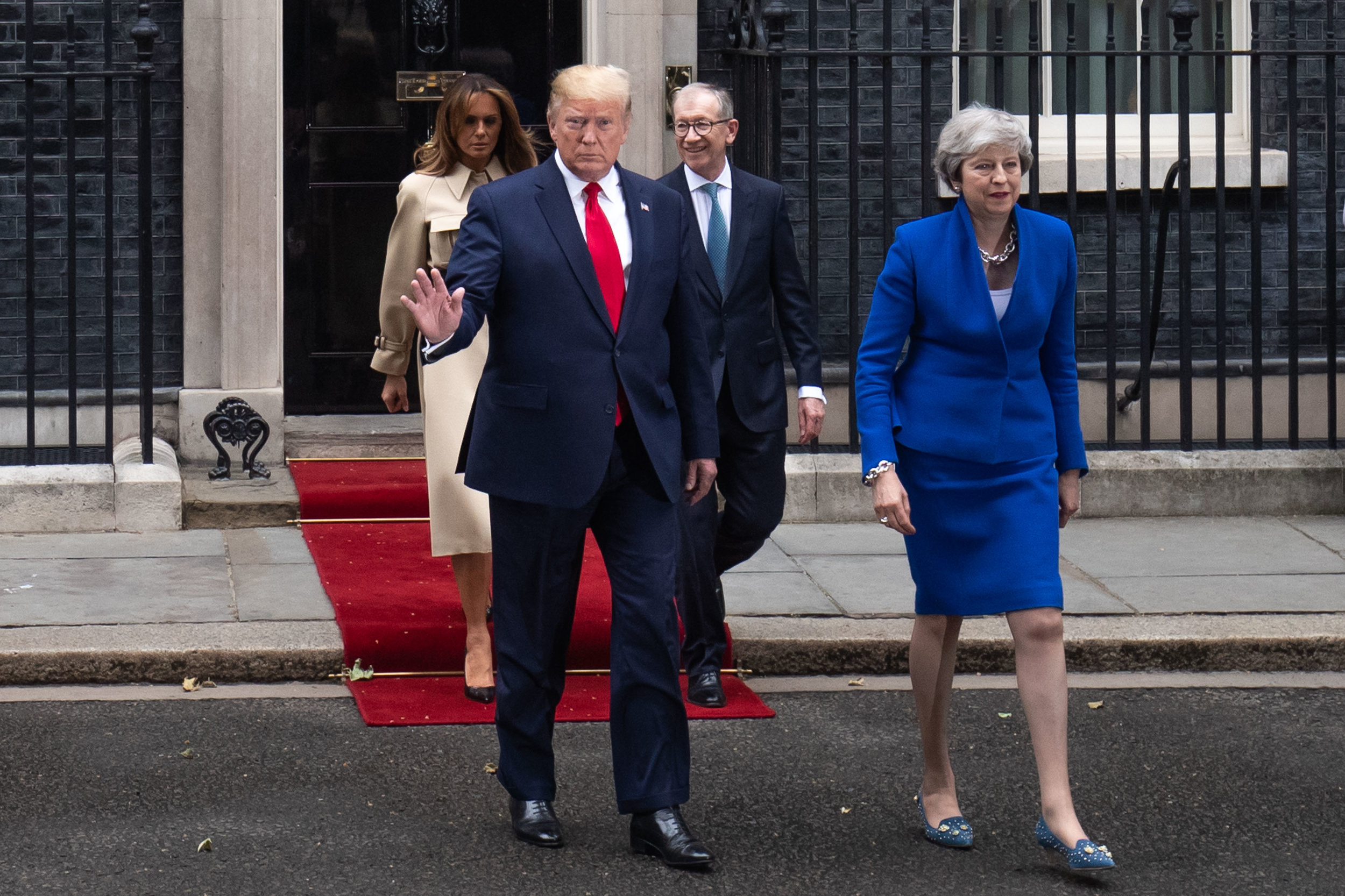 British Prime Minister Theresa May and US President Donald Trump accompanied by US First Lady Melania Trump and  Philip May, visit Number 10 Downing Street during the second day of his state visit on June 04, 2019 in London, England