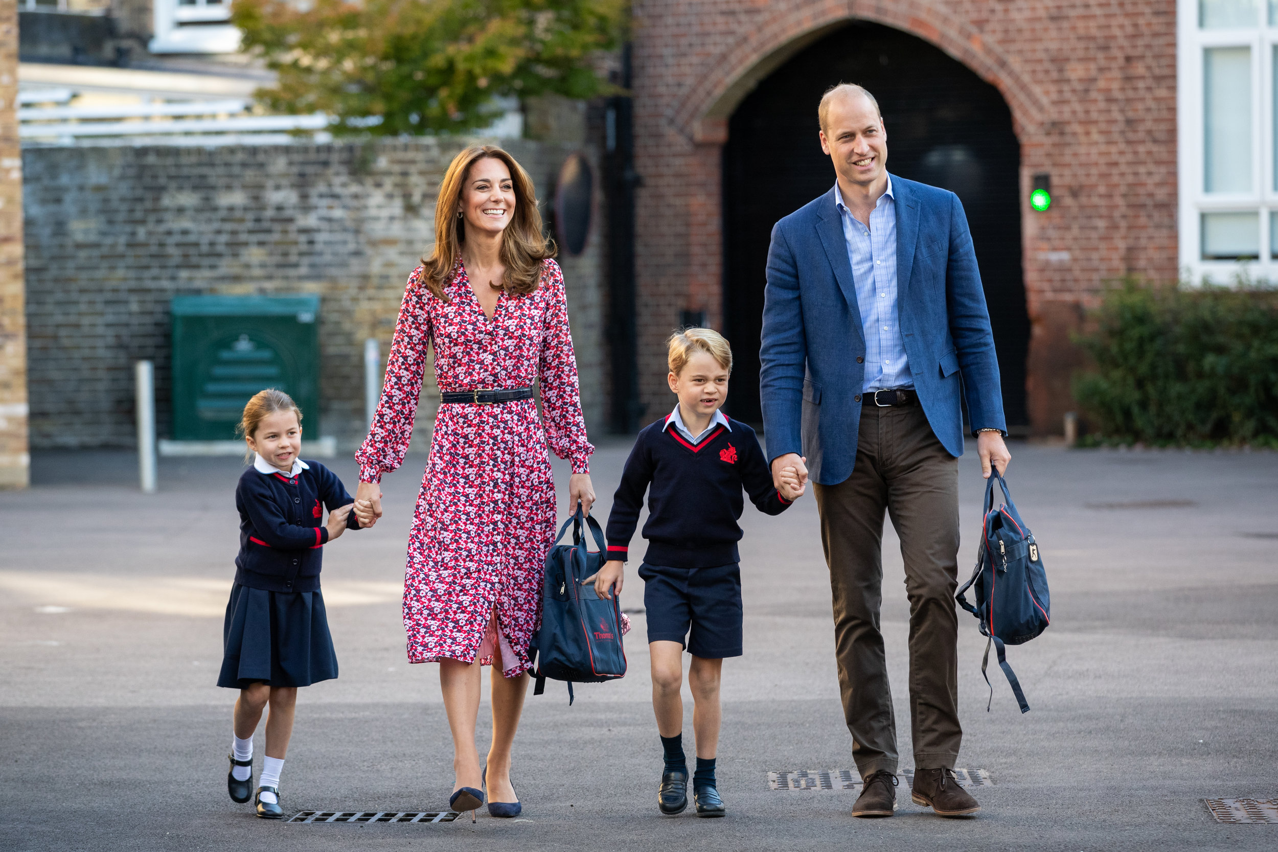 Britain's Princess Charlotte arrives for her first day at school accompanied by her mother Catherine, Duchess of Cambridge, father Prince William, Duke of Cambridge, and brother Prince George, at Thomas's Battersea in London.
