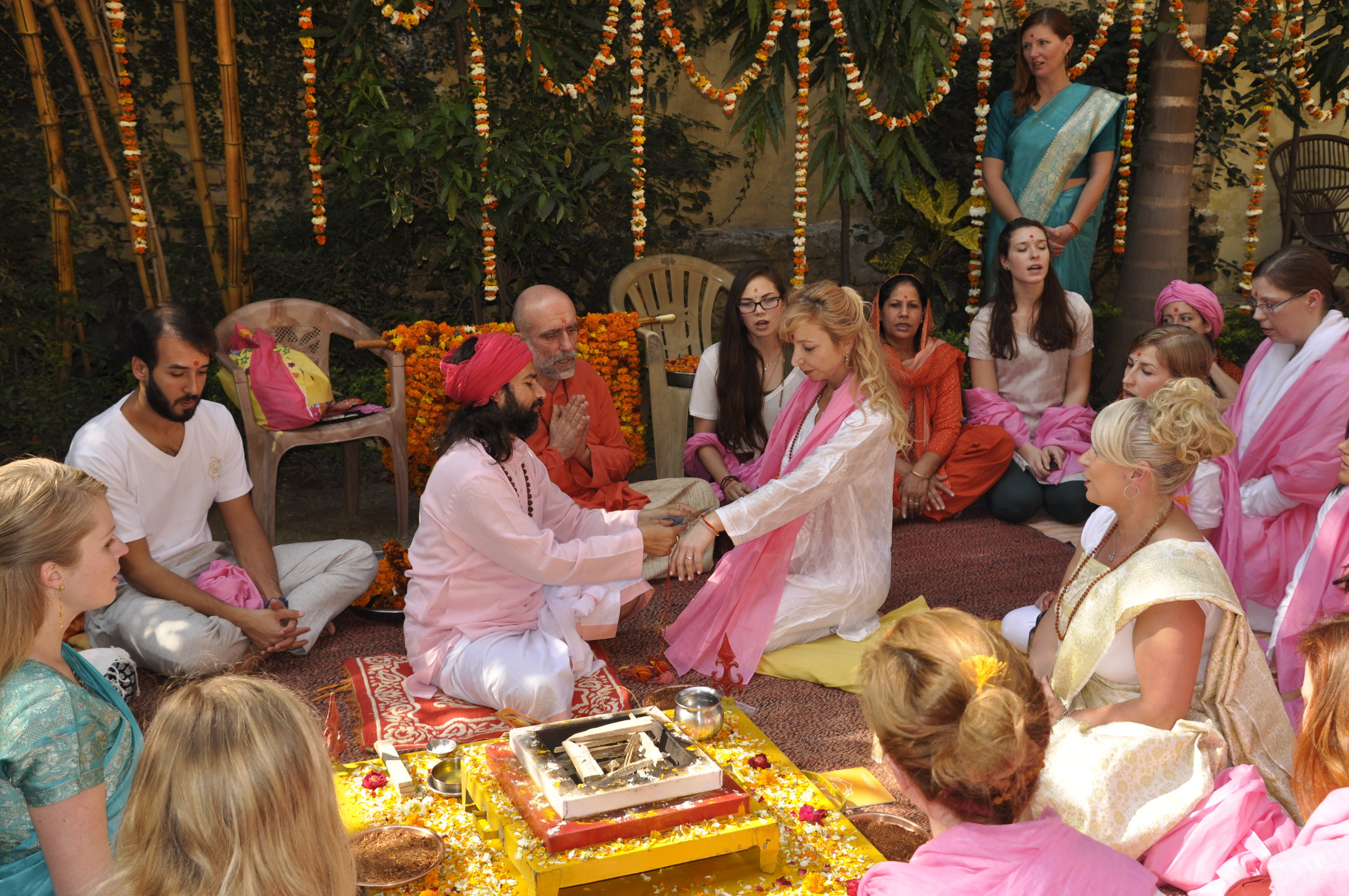 Graduation ceremony with Yogrishi Vishvketu, founder of Akhanda Yoga and Yog Sundari, Rishikesh, India.