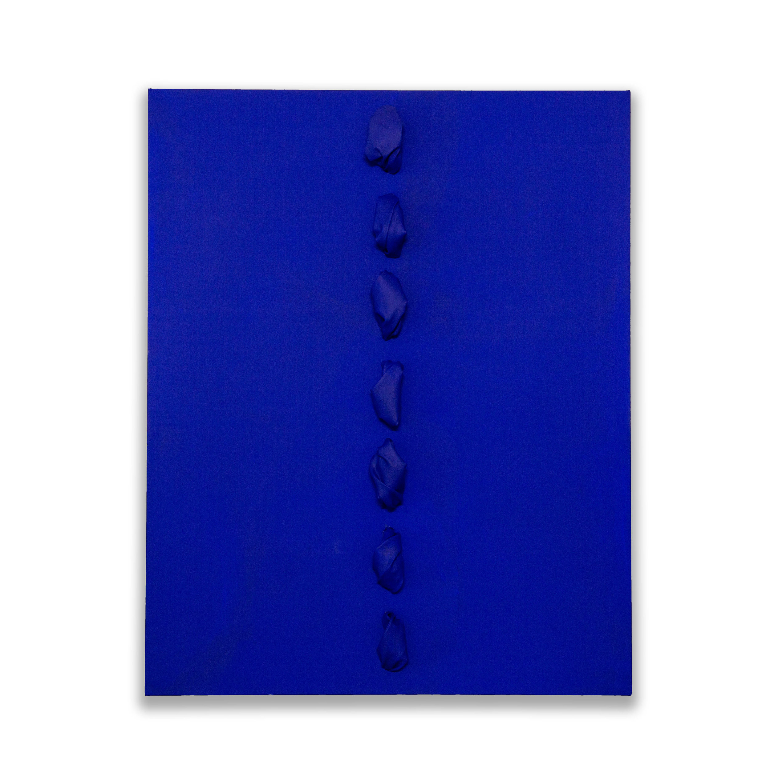 Cobalt Flow  - 2018  Acrylic pigment on canvas stretched on board  100 x 80 x 16 cm