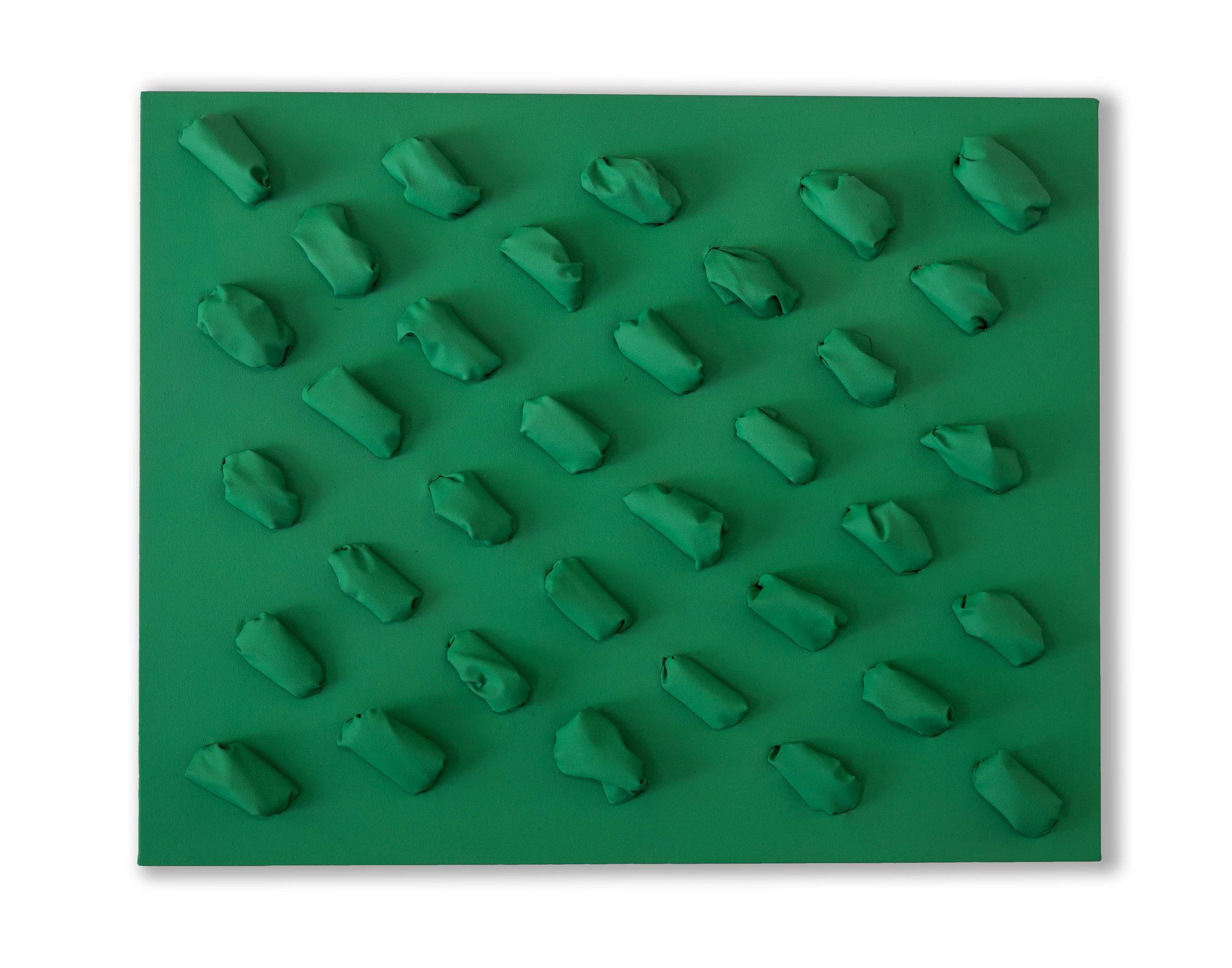 Flowing Cobalt Green  - 2018  Pigmento acrilico su tela stesa su tavola  80 x 100 x 14,5 cm