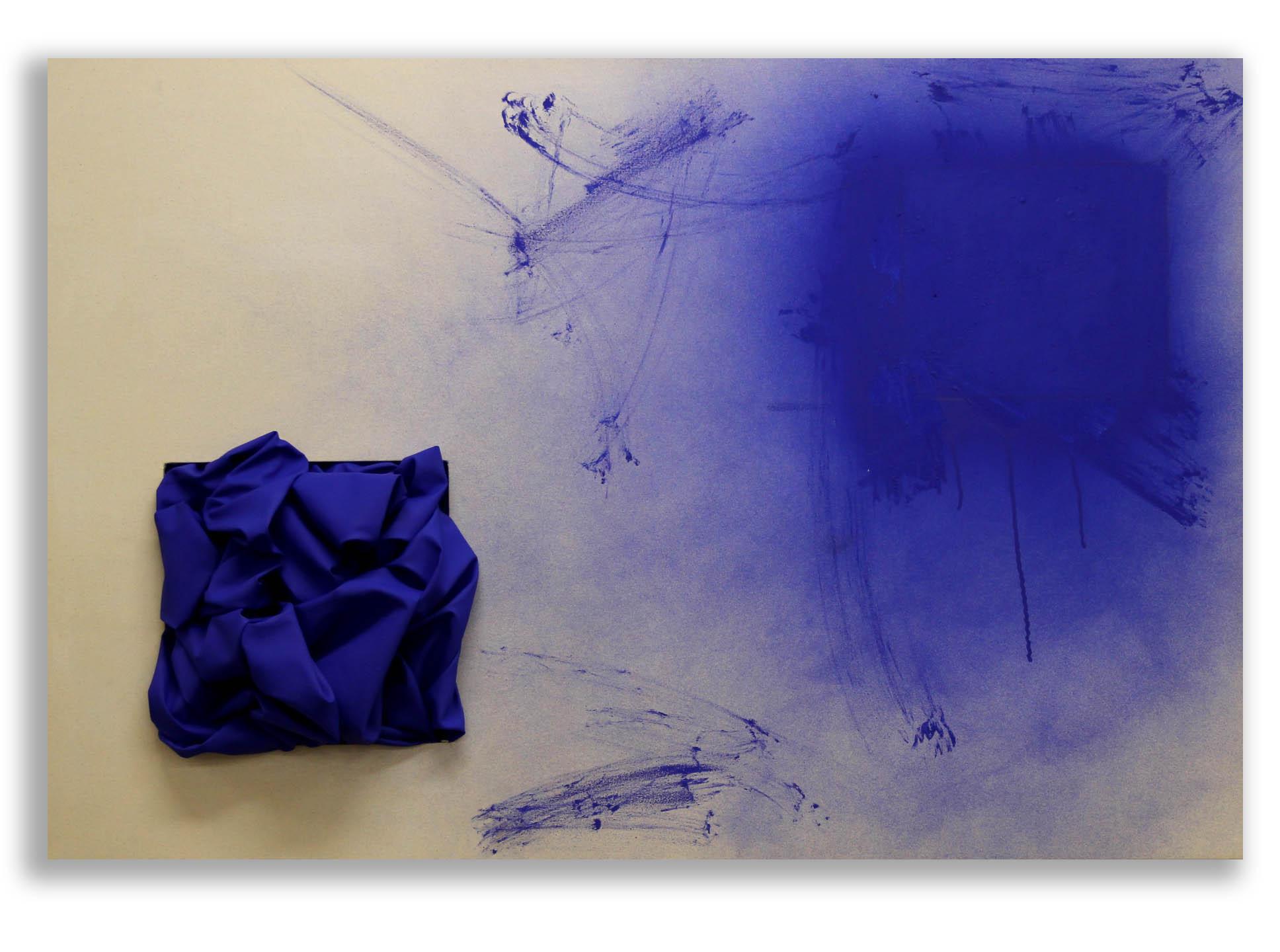 Genesis (Cobalt Blue)  - 2017  Pigmento acrilico, bomboletta spray e oil stick su tela di cotone grezza  110 x 150 cm