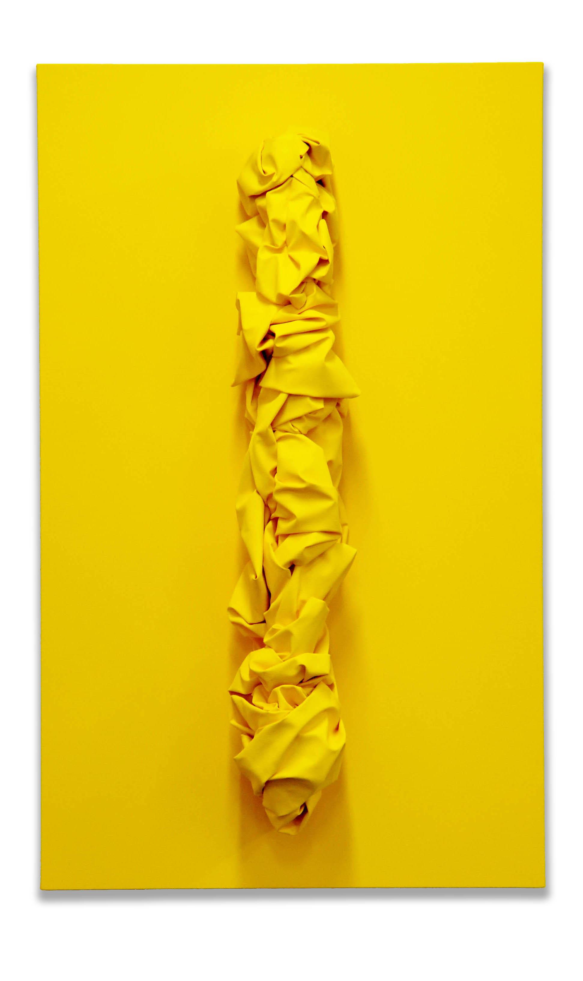 Untitled Cadmium Yellow -  2017  Pigmento acrilico su tela tesa su tavola  147 x 90 cm