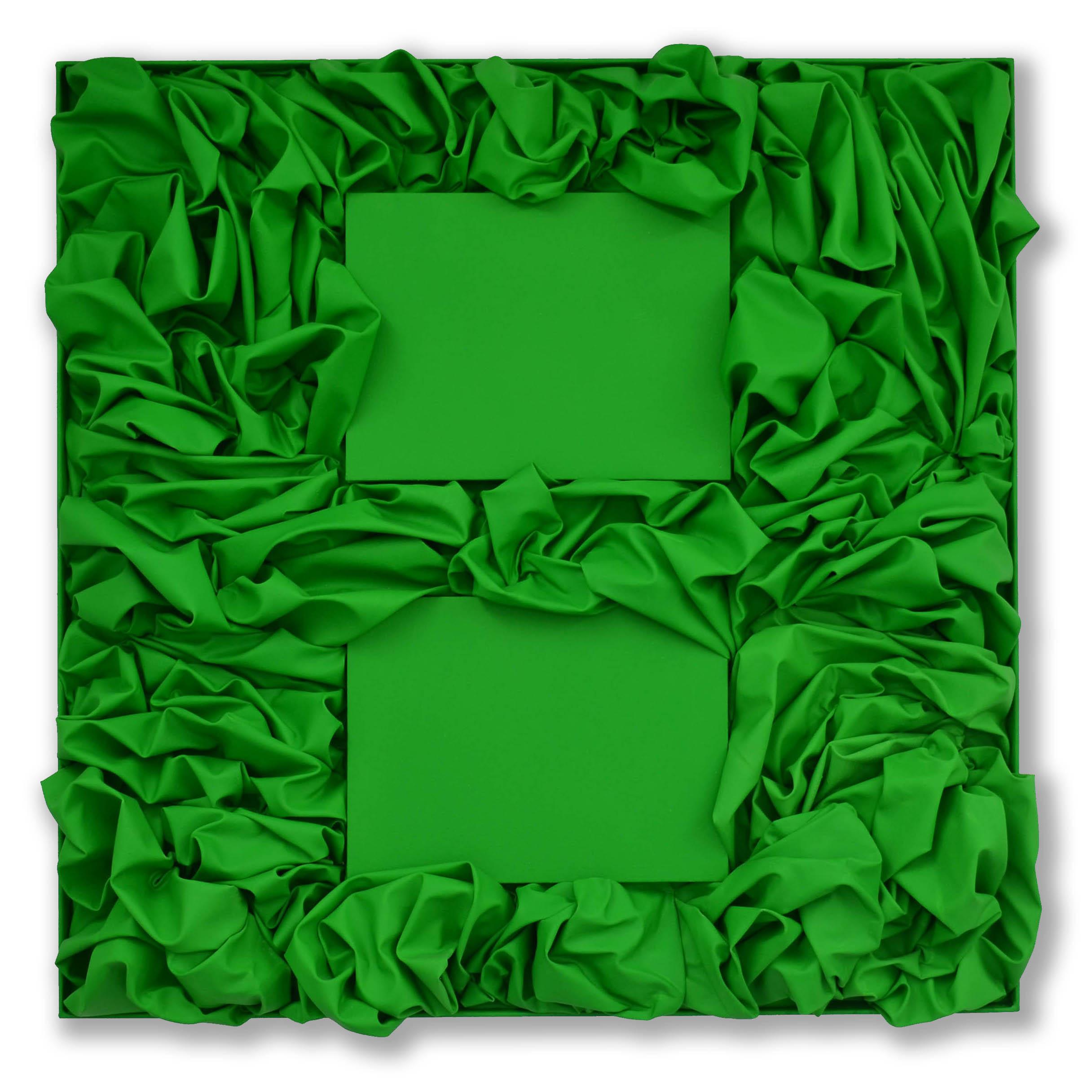 Reflected Green  - 2017  Pigmento acrilico su tela applicata su tavola  101 x 101 cm