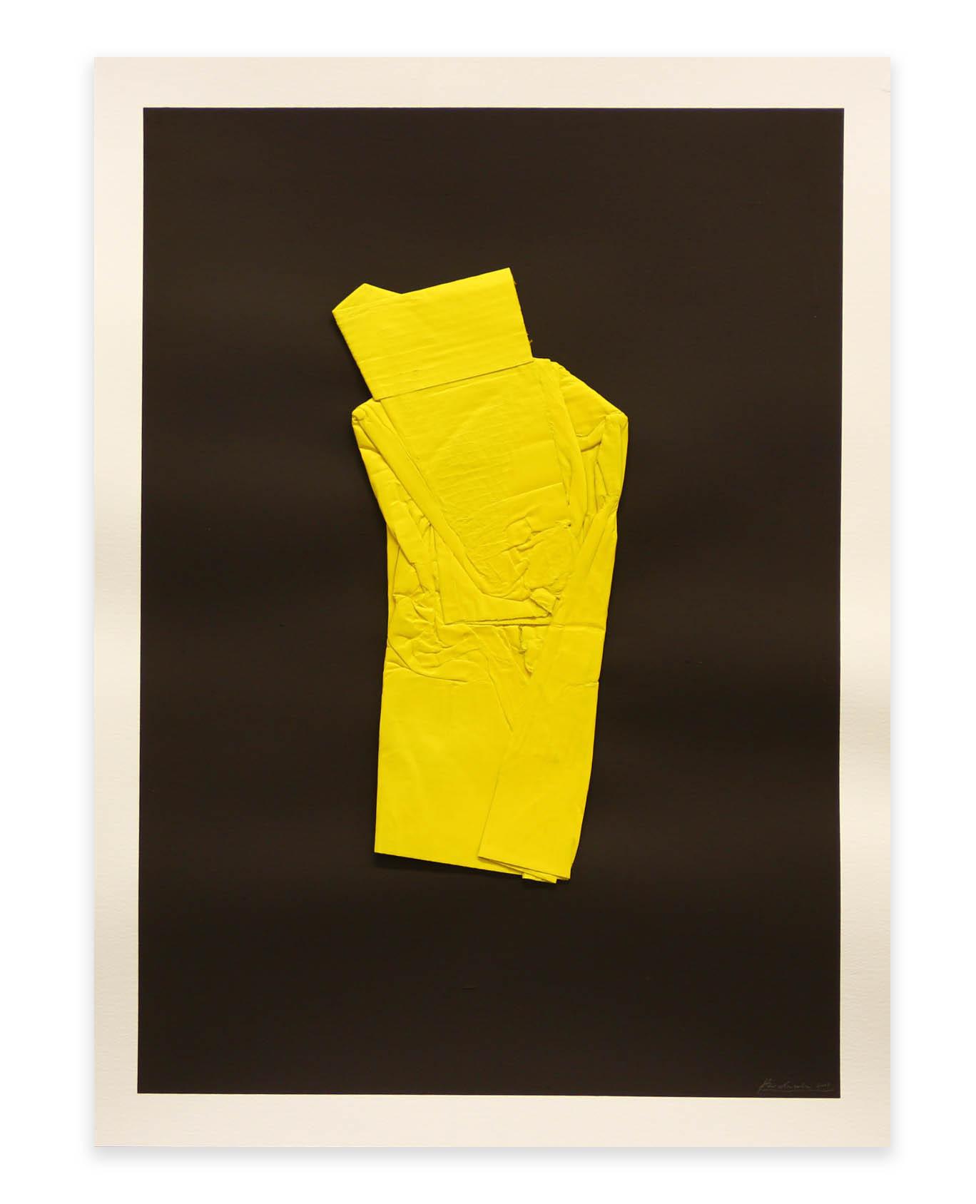 Pressed Cadmium Yellow  - 2017  Pigmento acrilico, bomboletta spray e cartone su carta  76 x 56 cm