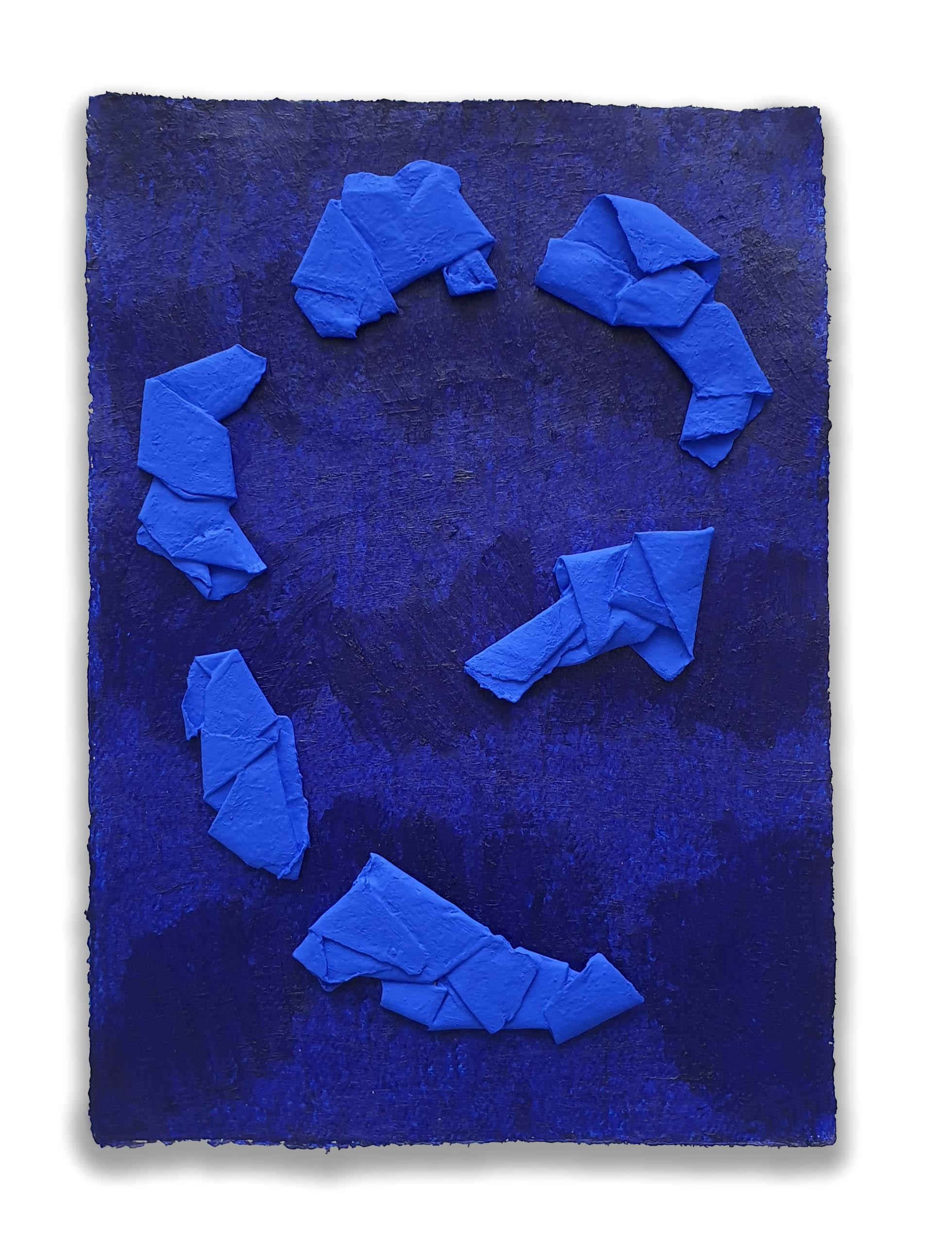 Ultramarine Vortex  - 2019  Acrylic pigment and oil stick on paper  43 x 30 cm