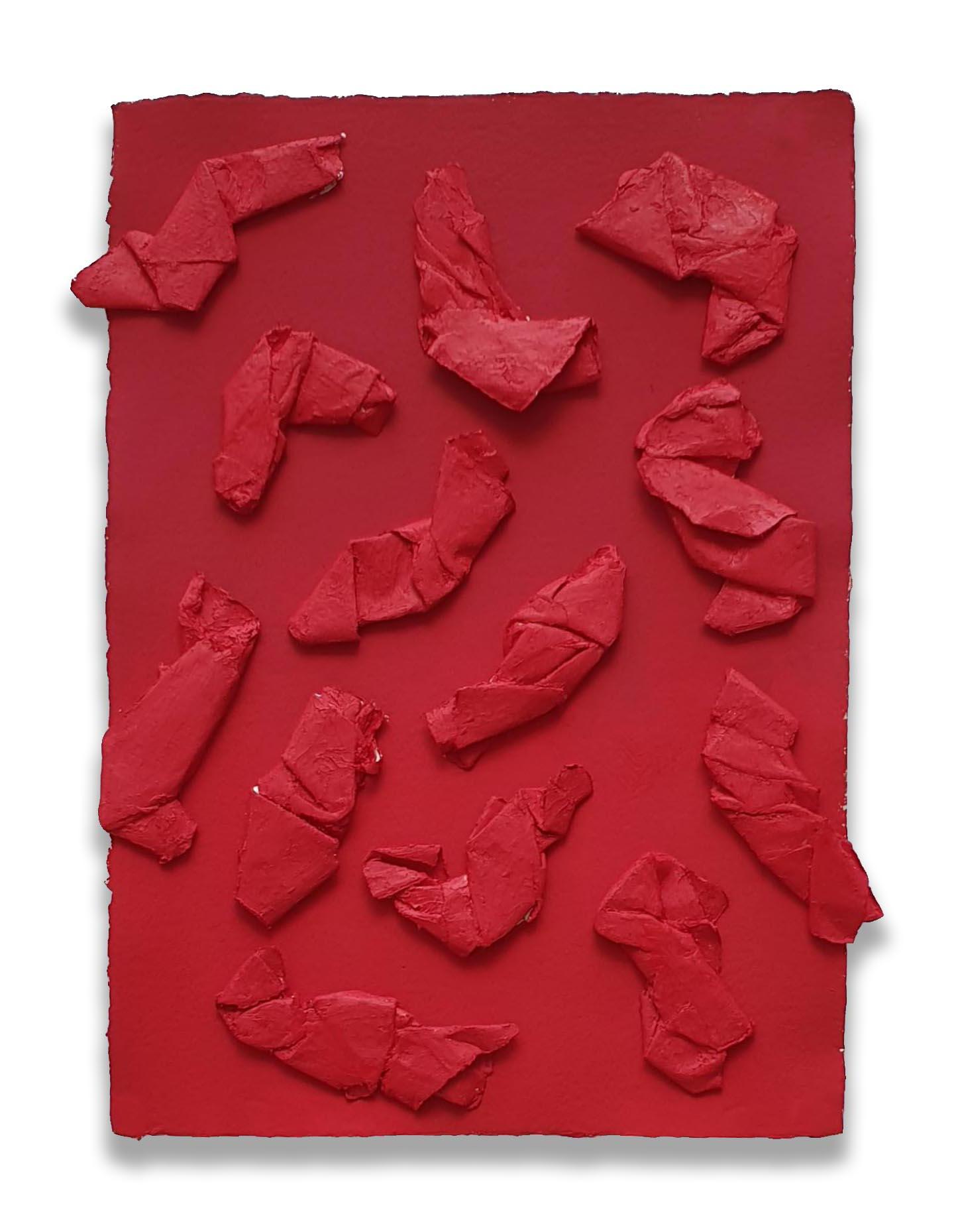 Flowing Cadmium Field  - 2019  Pigmento acrilico e oil stick su carta  42,5 x 30 cm
