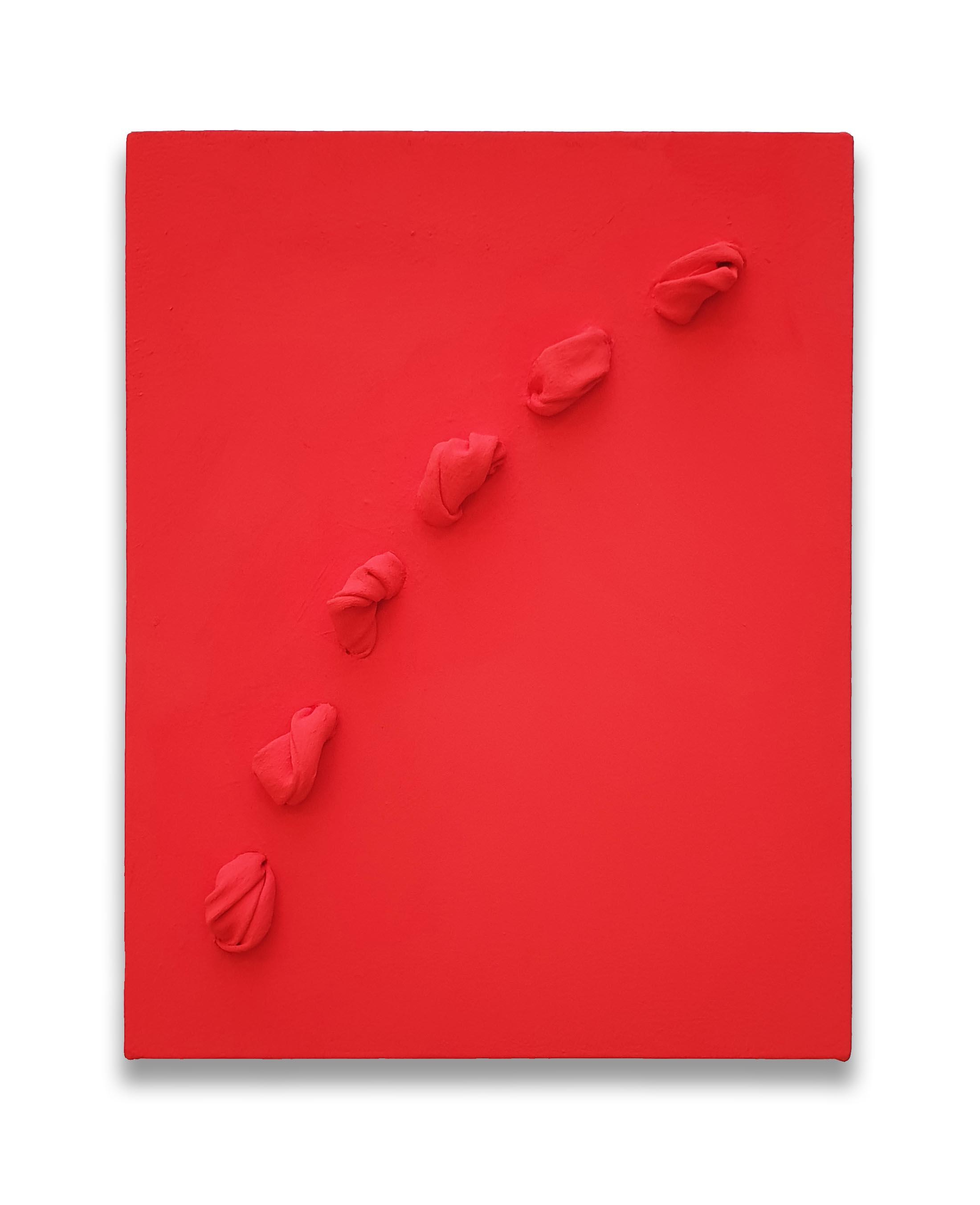 Flowing Vermilion  - 2019  Pigmento acrilico su tela tesa su tavola  35,6 x 28,4 x 4 cm