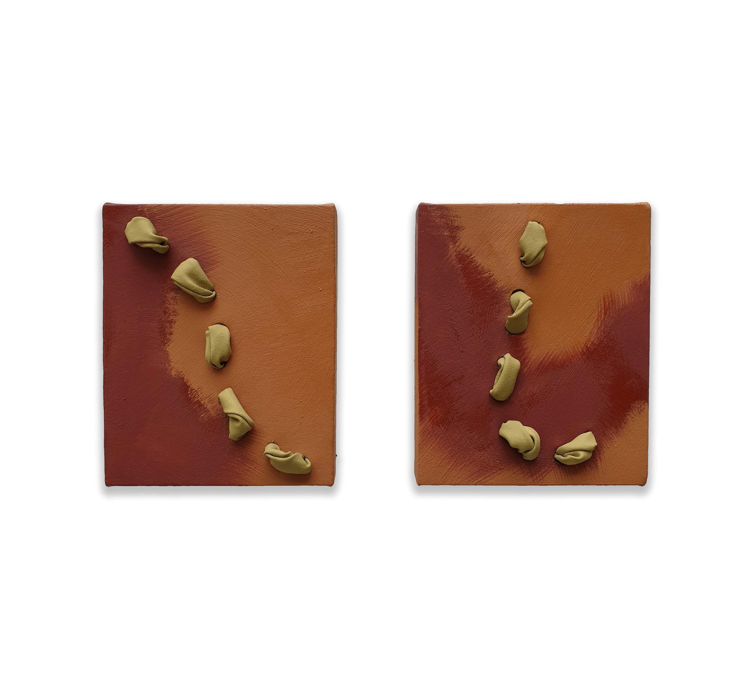Dittico di Terra  - 2019  Pigmento acrilico e olio su tela tesa su tavola  25 x 20 x 5,4 cm ciascuno