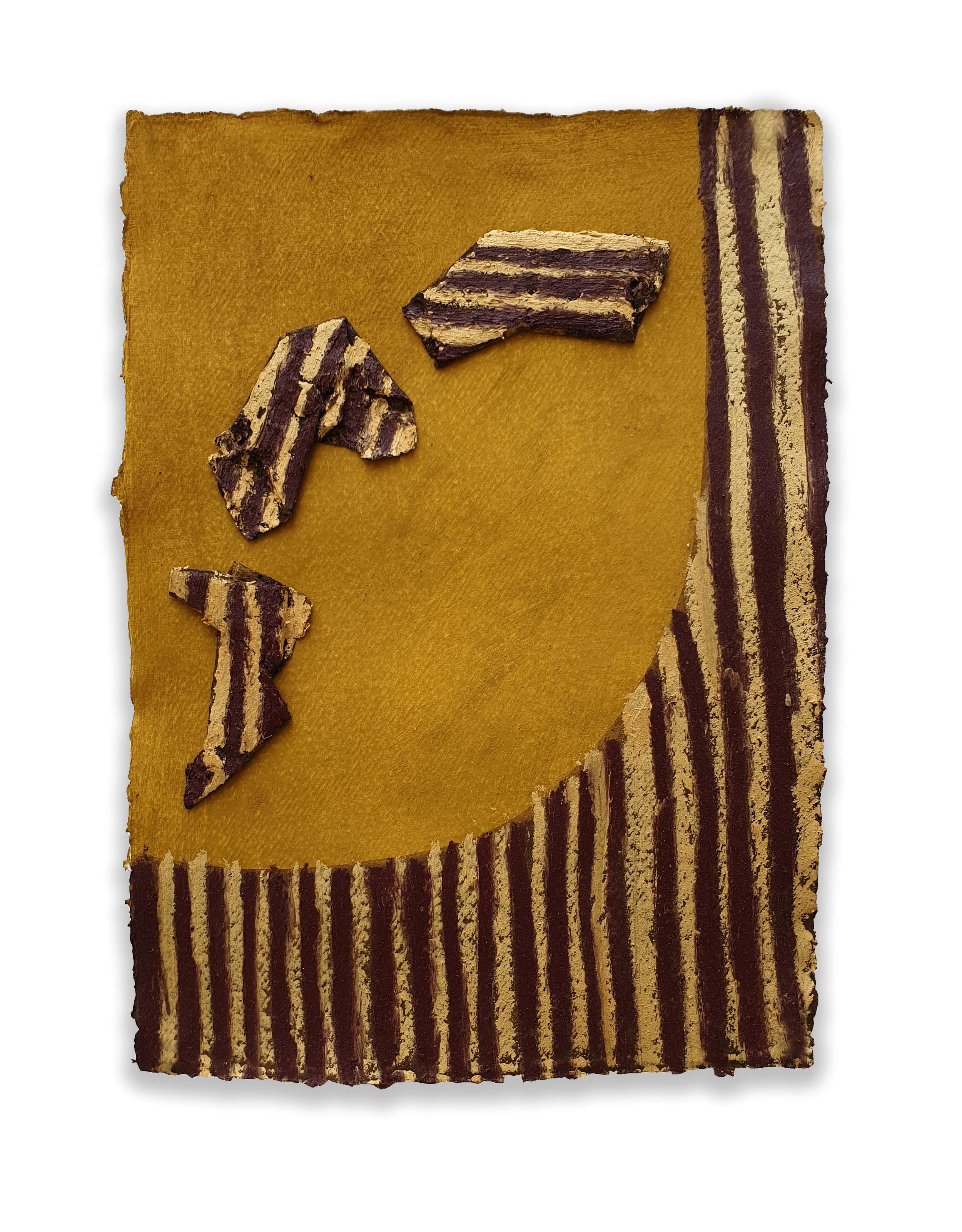 Flusso Bizantino  - 2019  Acrylic pigment and oil stick on paper   43 x 30 cm