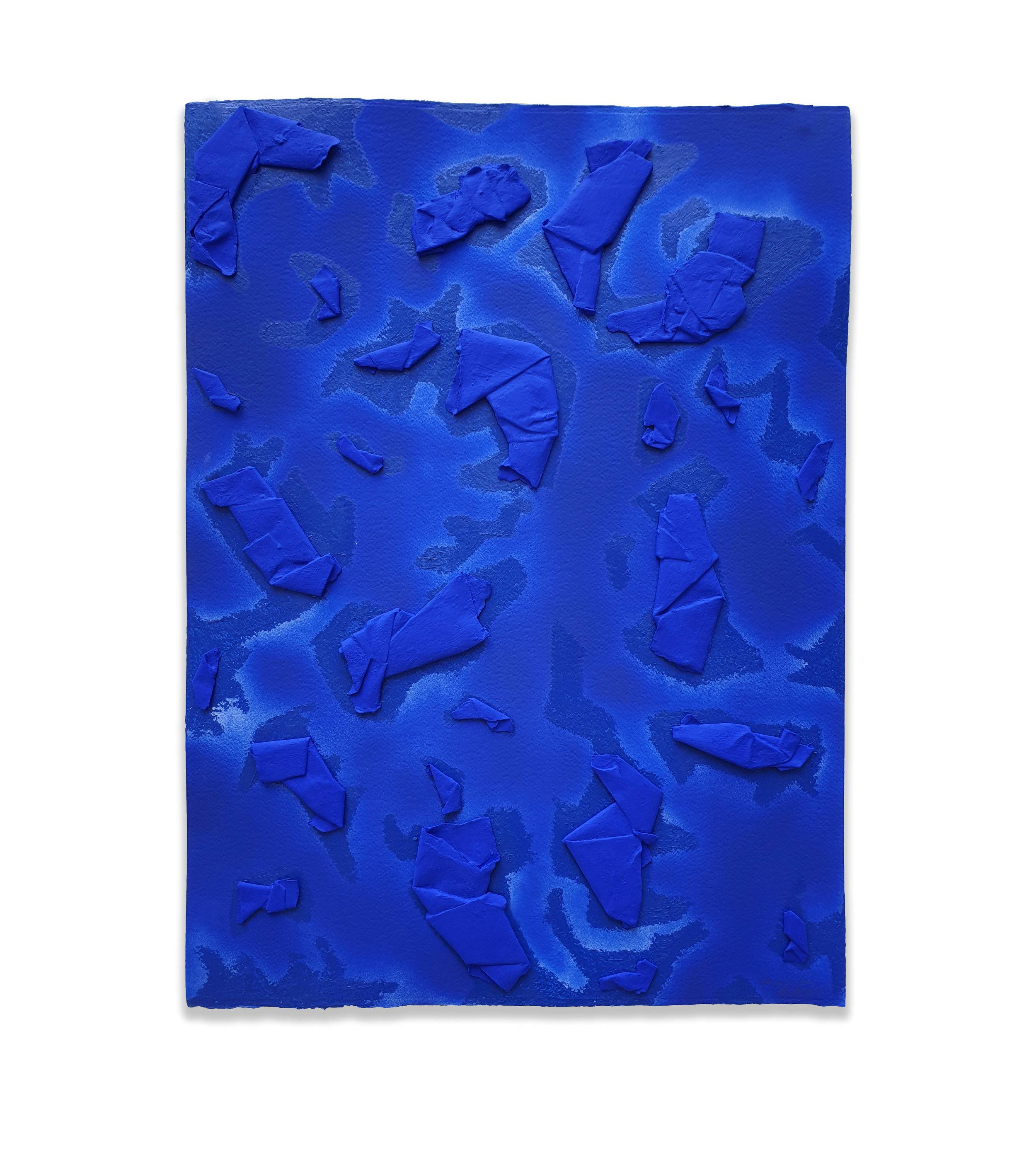 Ultramarine Dream  - 2019  Acrylic pigment, spray paint and oil stick on paper  76 x 56 cm