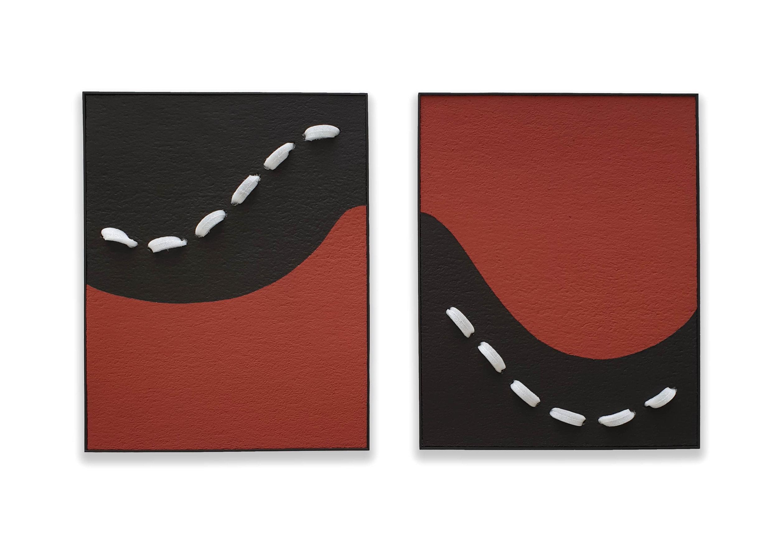 Impermanent Flow  - 2019  Pigmento acrilico su polistirolo montato su tavola   95,3 x 75,3 x 7,6 cm (ciascuno)