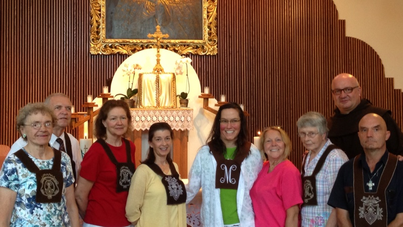 Anabell (in the green shirt) in the middle following her investiture as a Secular Carmelite. Our beloved late president, Eleanor, is the second person to Anabell's right and below on the far left.