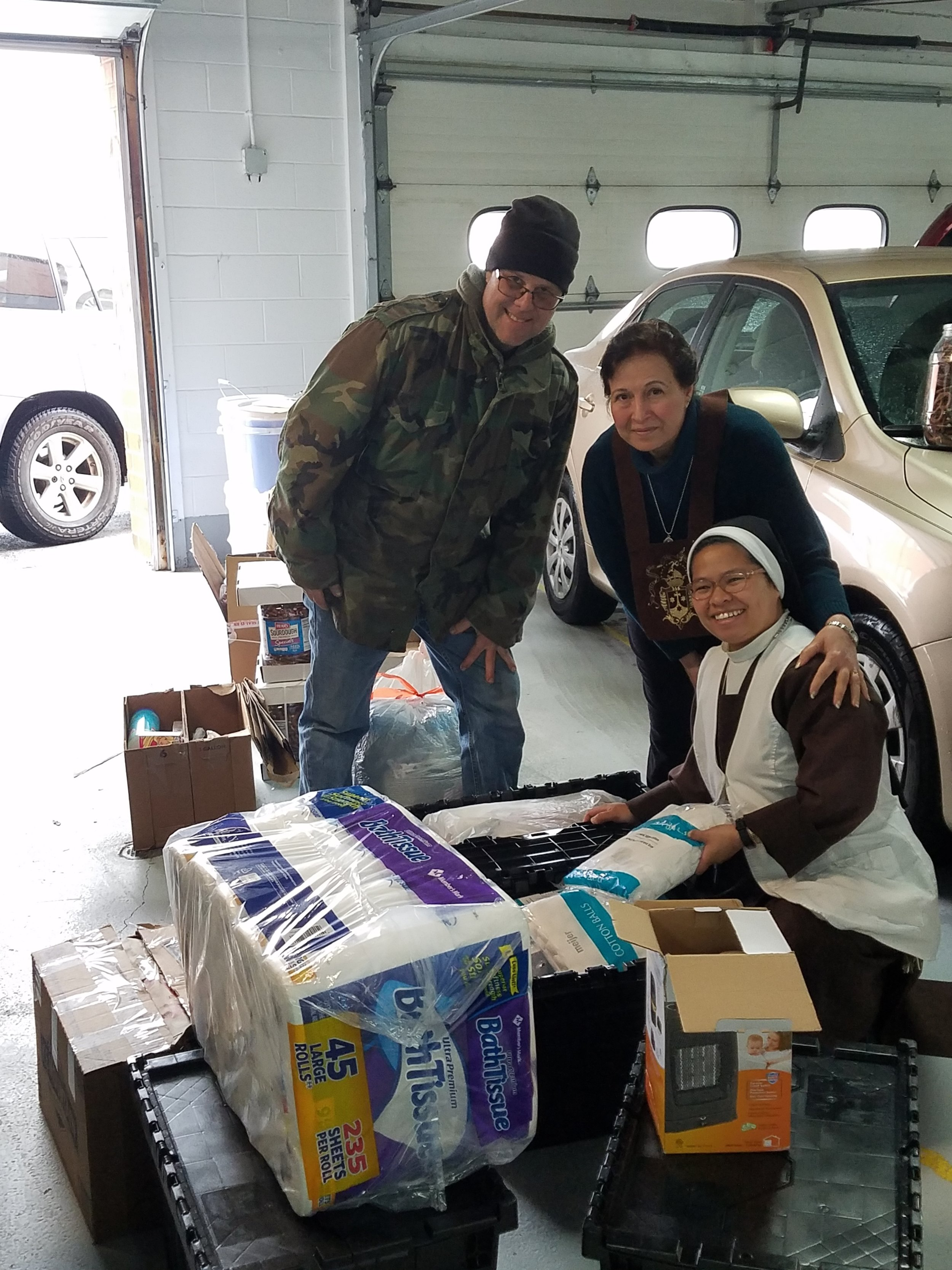 Taking hygiene items to the Carmelite Home - Monthly collections for the St. Joseph Carmelite Home by Ghanem and Mary
