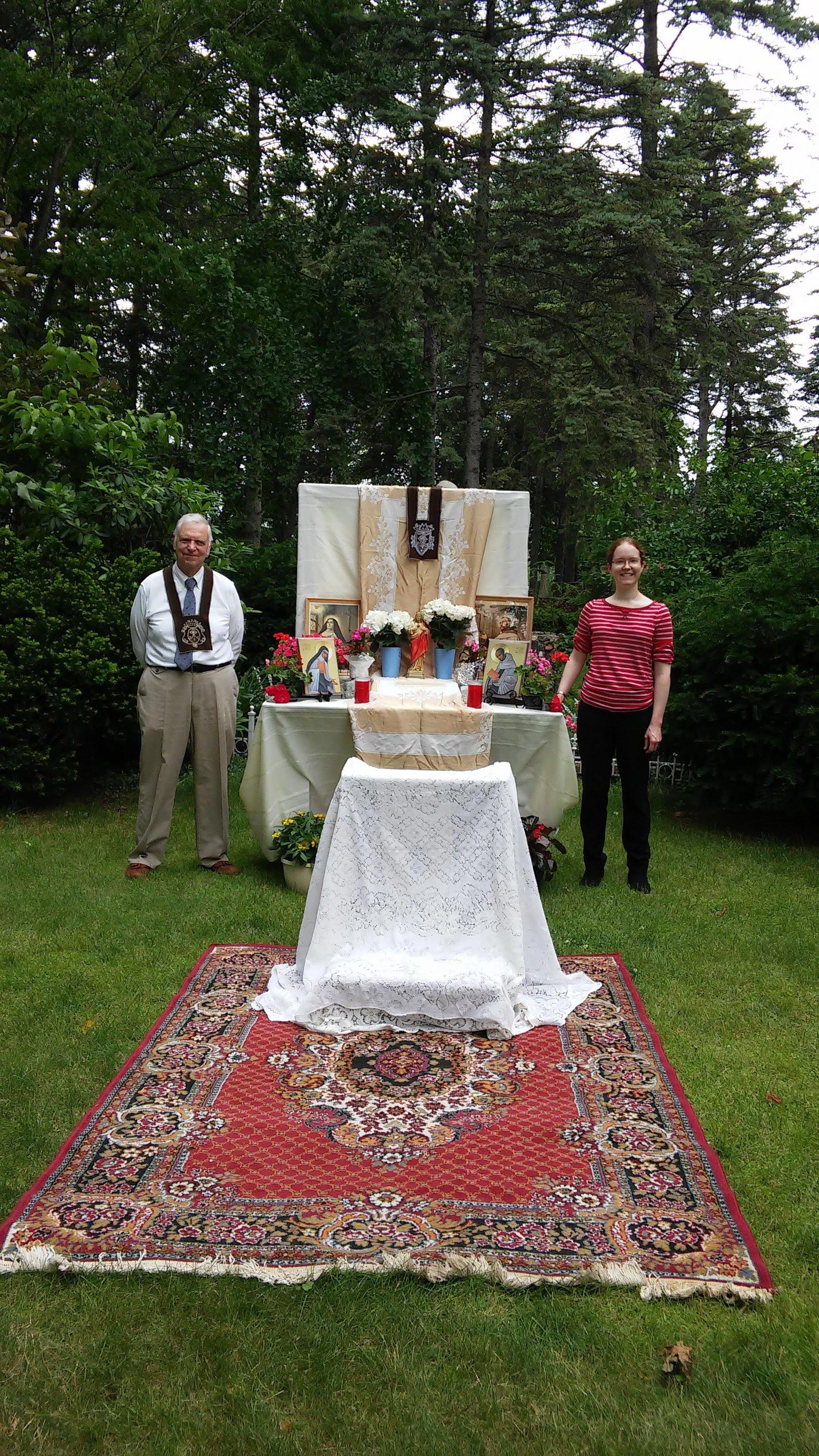 Corpus Christi Altar - Every year on Corpus Christi Sunday, our Secular Carmelite Community joins other organizations in decorating an altar on the monastery grounds.