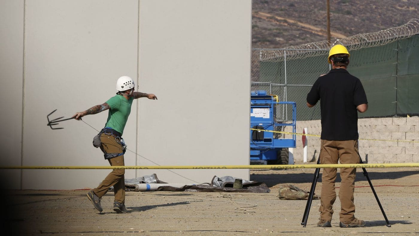 Anti-climb and anti-dig testing takes place at the border wall prototype site in Otay Mesa, California  @ LA Times