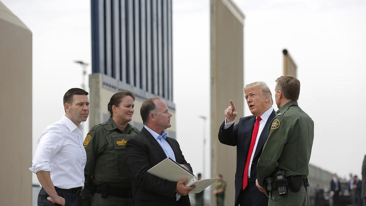 President Trump made his first visit to California to tour the border wall prototypes on Otay Mesa and attend a fundraiser in Los Angeles.   @  San Diego Union-Tribune