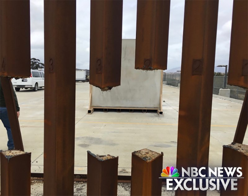 A photo exclusively obtained by NBC News shows the results of the test after military and Border Patrol personnel were instructed to attempt to destroy the barriers with common tools.  @NBC News