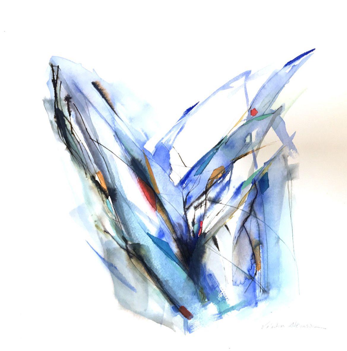 Valentina Atkinson, Tiempo de abrazar, 2017, Watercolor and Ink on Paper, 14 x 14 in.