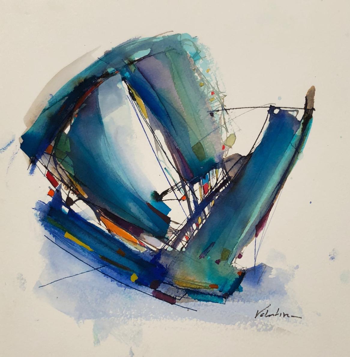 Valentina Atkinson, Sailing, 2017, Watercolor and Ink, 14 x 14 in.
