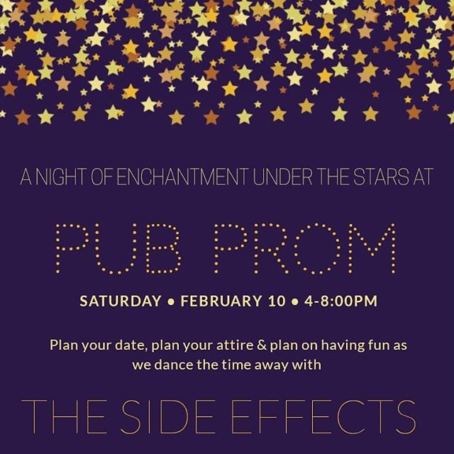 "For those of you who didn't make it to your prom fate has granted you a second chance. Yes, you read that right and it's all thanks to The Hatfield Pub!  Saturday, February 10th 4-8PM you and your special date will enjoy a night of enchantment under the stars at PUB PROM 2018!! Dance the night away listening the melodies of the live band, ""The Side Effects,"" sippin' on your punch  of choice. You don't want to miss this. #pubprom2018"