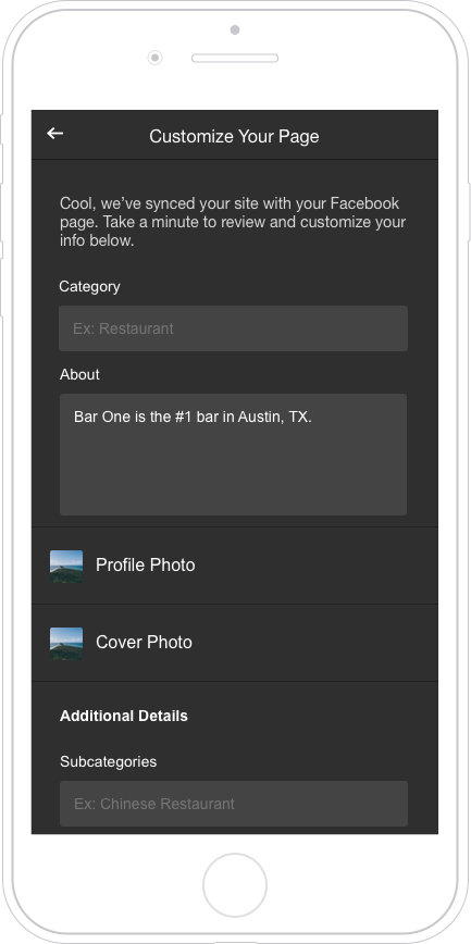 Customization fields for a new Facebook Page