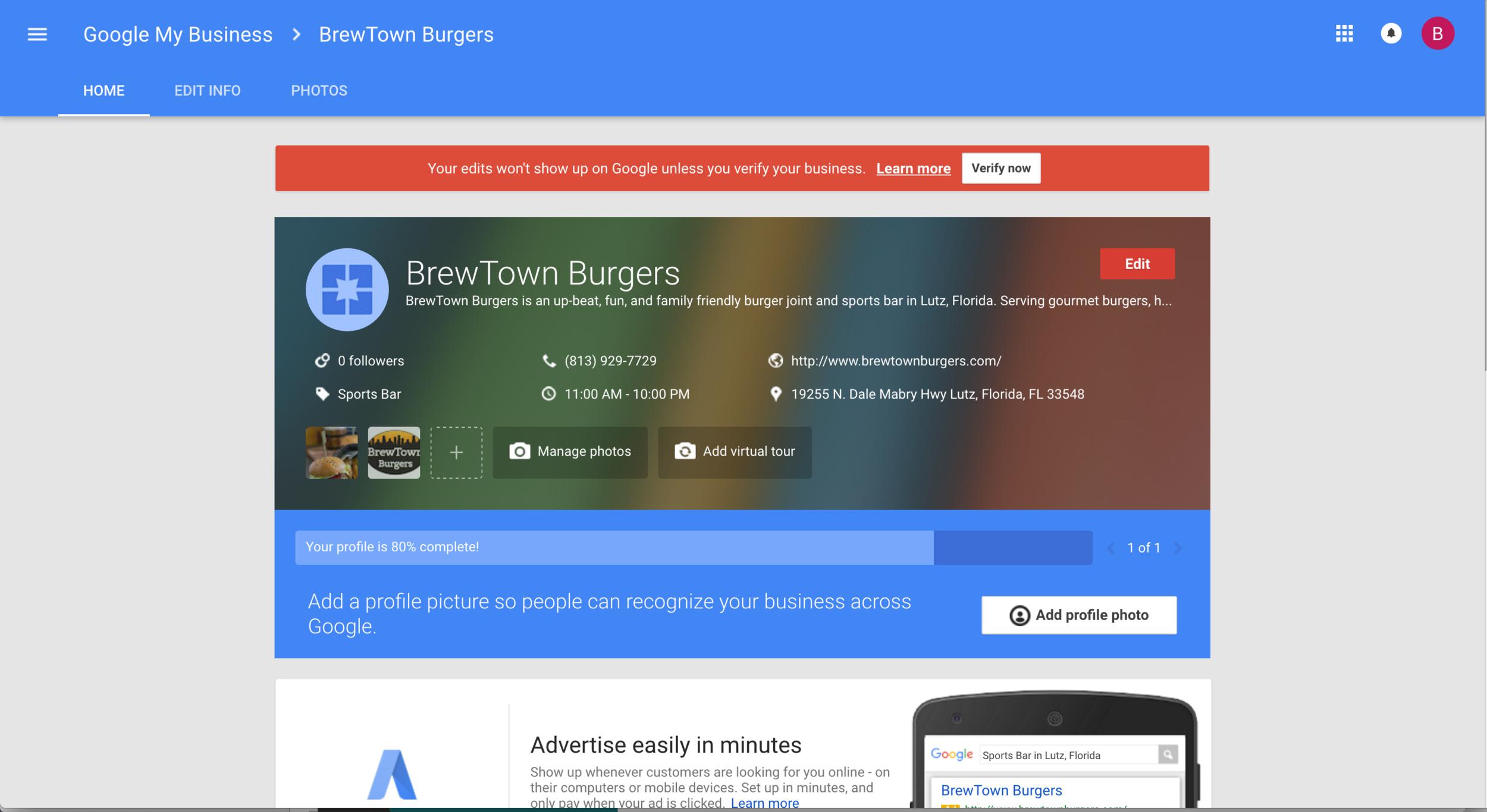 Google My Business Management