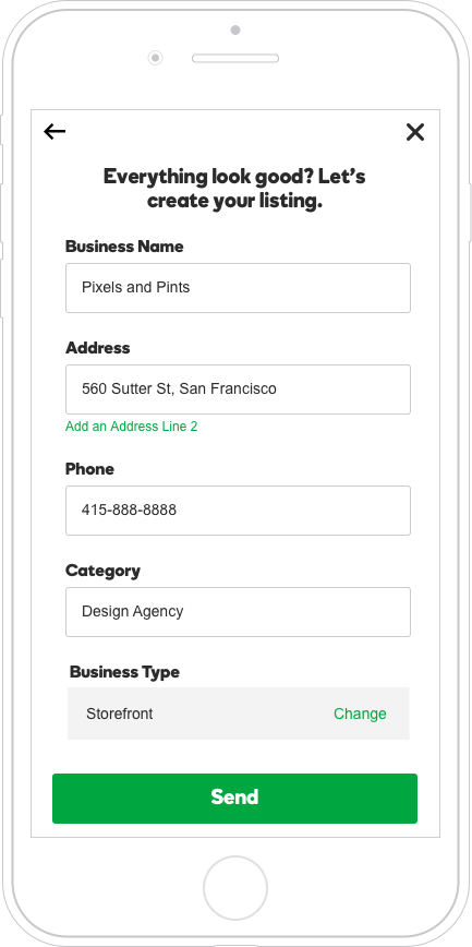 Service area and storefront businesses are asked to review their info prior to publishing to Google for data quality