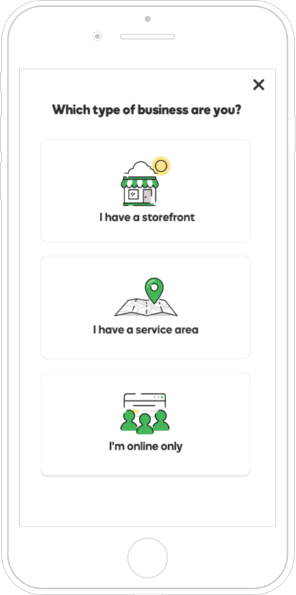 Business type selection screen for mobile