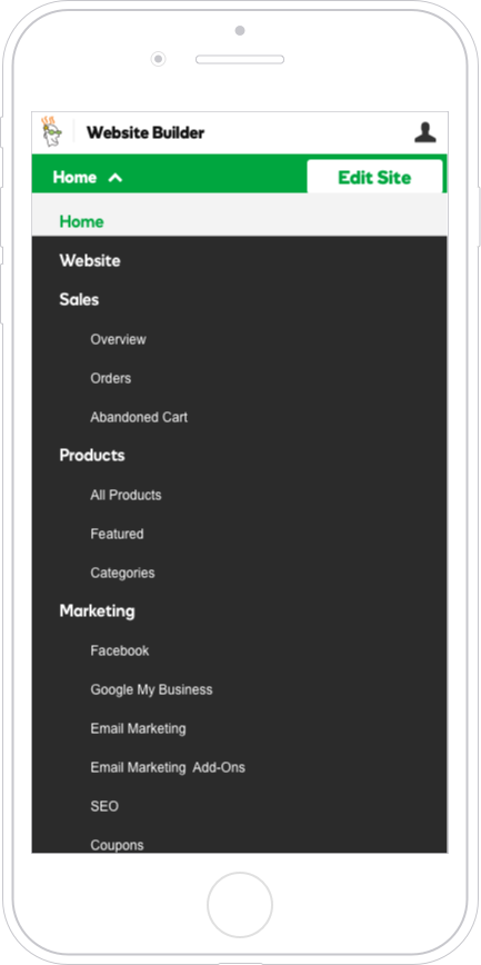 A look at the GoDaddy system in-app header styling which was not optimized for mobile devices