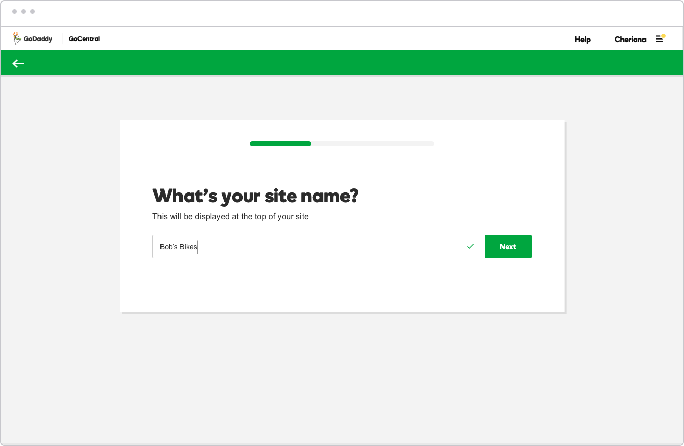 Step 1: Tell us your site name
