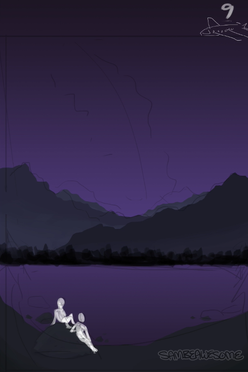 - I lay down the flat colors/gradients. I used a few references to get an idea of what things would look like at night. (ie the sky and mountains) Best not to guess if you're wanting things to look as accurate as possible :)