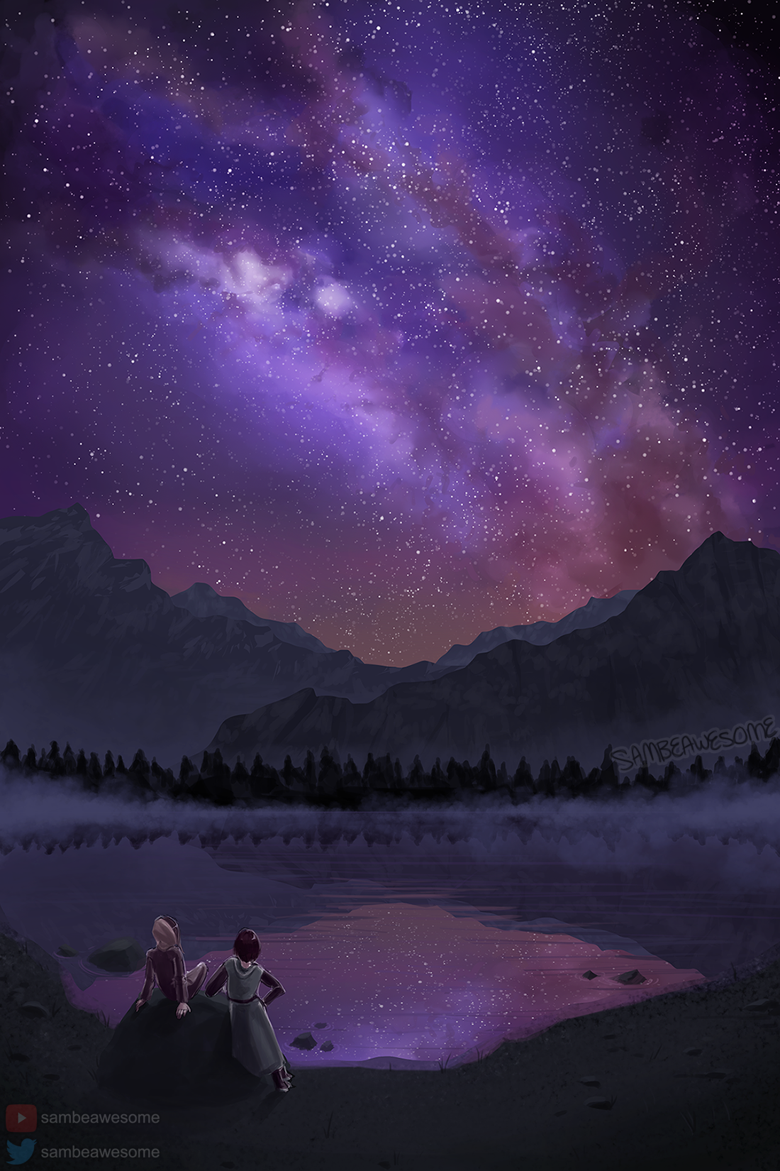 - In this piece, this same technique was used to make the stars! Save time painting over large areas by combining this brush setting with also duplicating and pasting them over and over, resizing as needed (for more distant/less bright stars).