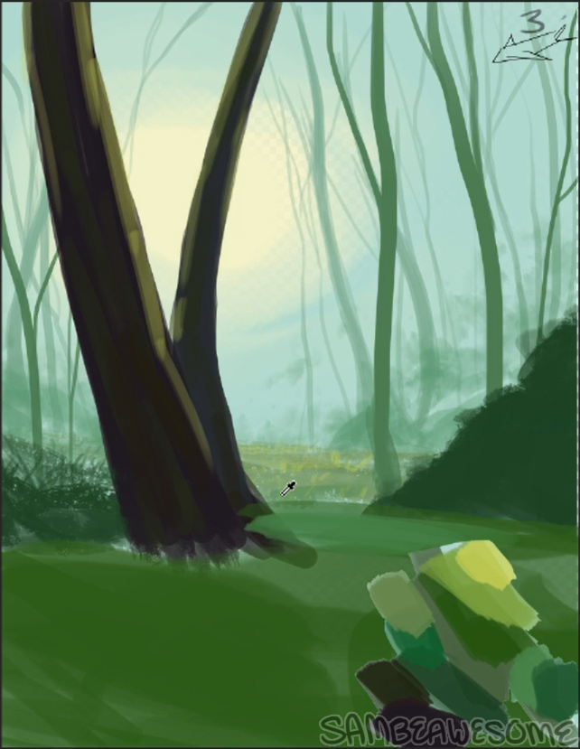- I started off with a base flat layer of green. I had picked some random green colors as a palette to work off of (that I ended up mostly not using, but it helped me get into the mindset at the very least, haha). Basically you just want to cover the