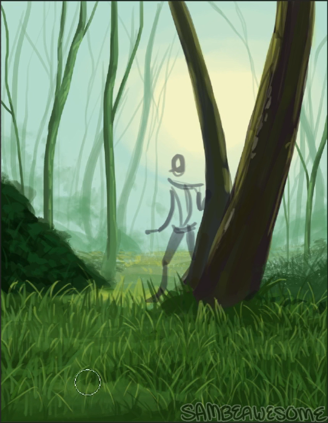 - Here I duplicated the grass layer, flipped it, and moved it behind the big tree. (It's easier to see in the video at the bottom.) This just helps fill in more space and saves my wrist from drawing so many grass blades!