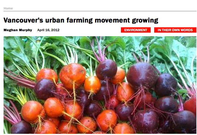 Interview in 2012 rabble article on urban agriculture.